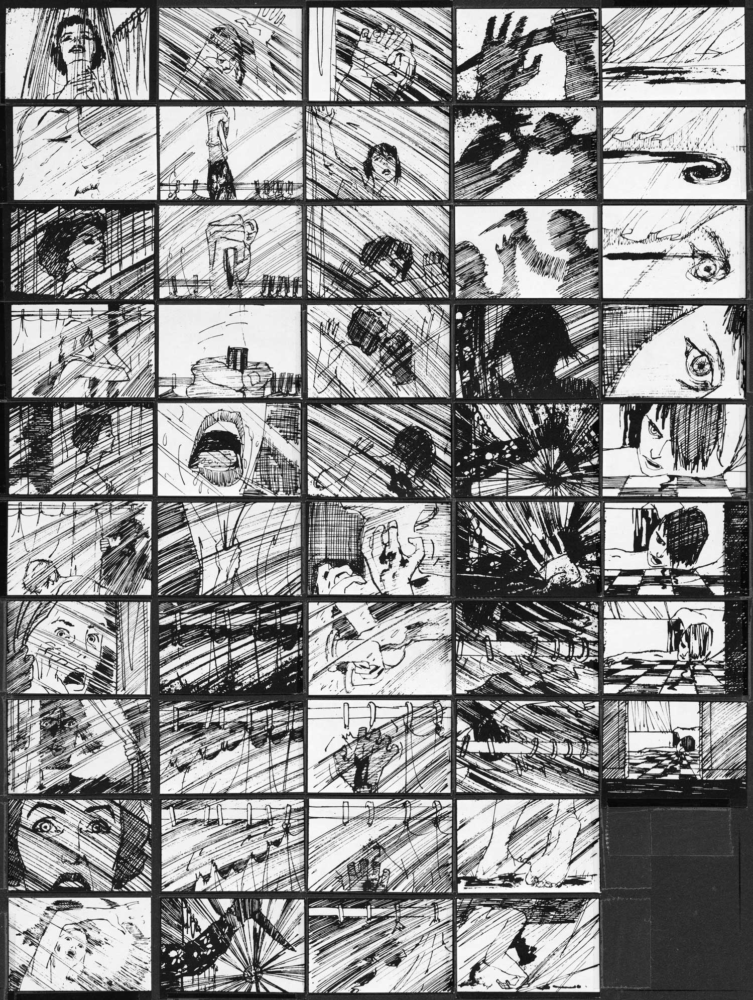 Saul Bass reunited with Hitchcock for the opening titles for PSYCHO, as well as crafting these storyboards for the shower sequence.
