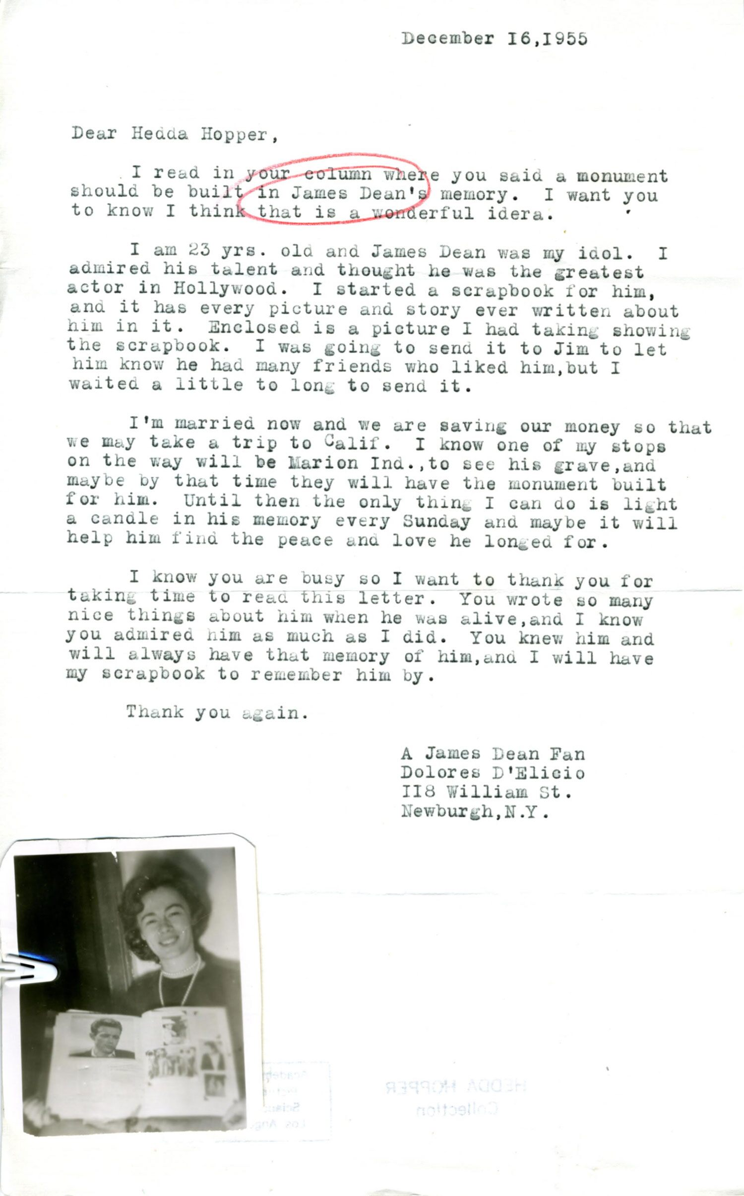 This fan letter proposed a monument after his death