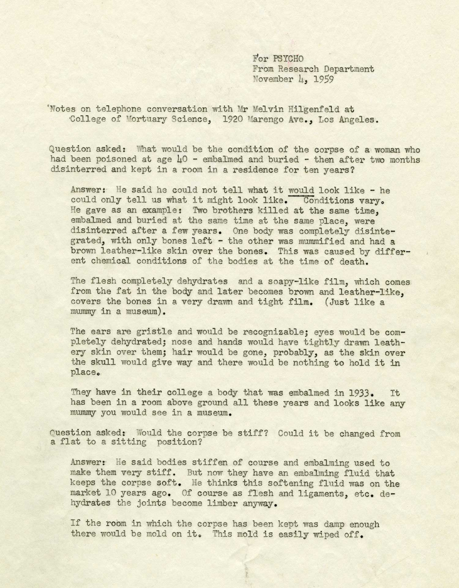"Preparations for ""Psycho"" included this grisly memo about the condition of an embalmed body, which figures in the film's twist ending."