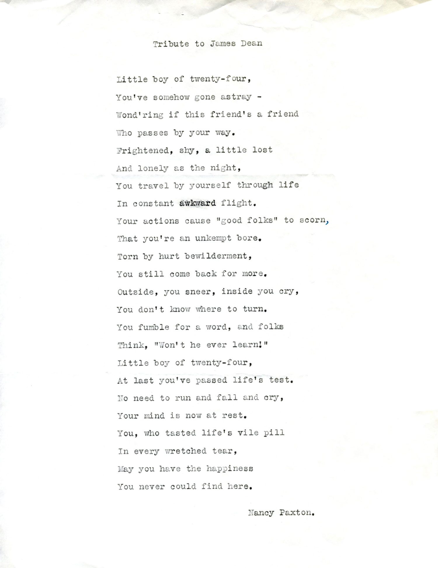 James Dean tributes after his passing included this poem written by a fan and sent to columnist Hedda Hopper.