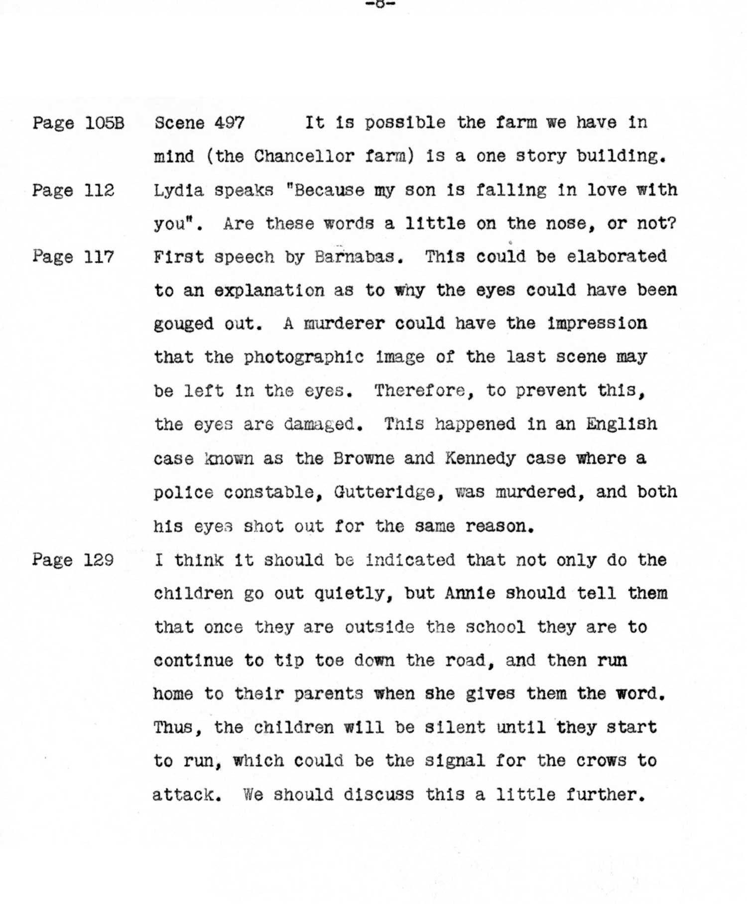"""Though he never took writing credit, Hitchcock offered in-depth notes to his screenwriters, such as this example for """"The Birds."""""""