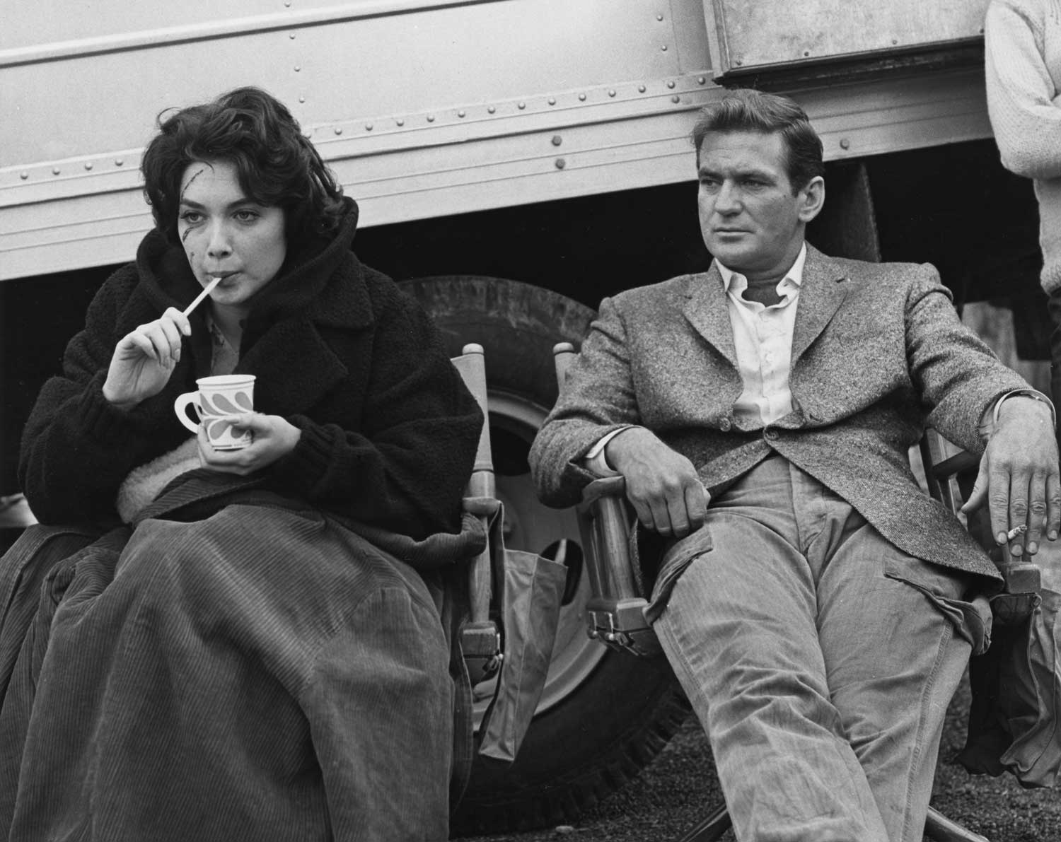 The actors take an unusual break during the filming of THE BIRDS.