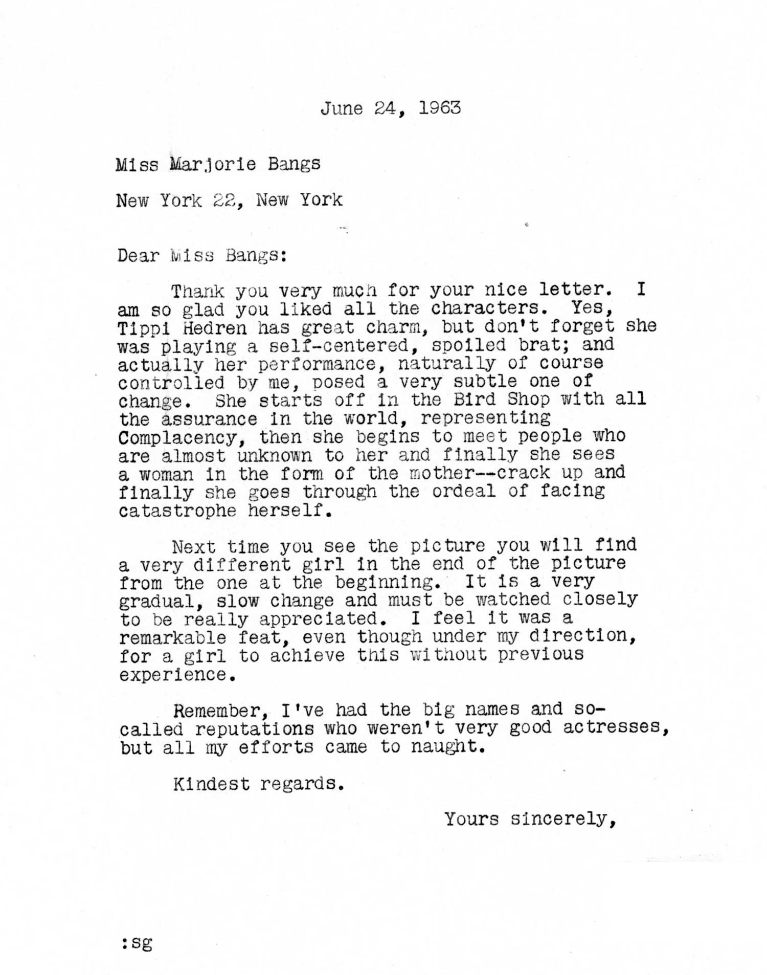 """Hitchcock often offered thoughtful responses to fan letters, such as this note about first-time actress Tippi Hedren in """"The Birds."""""""