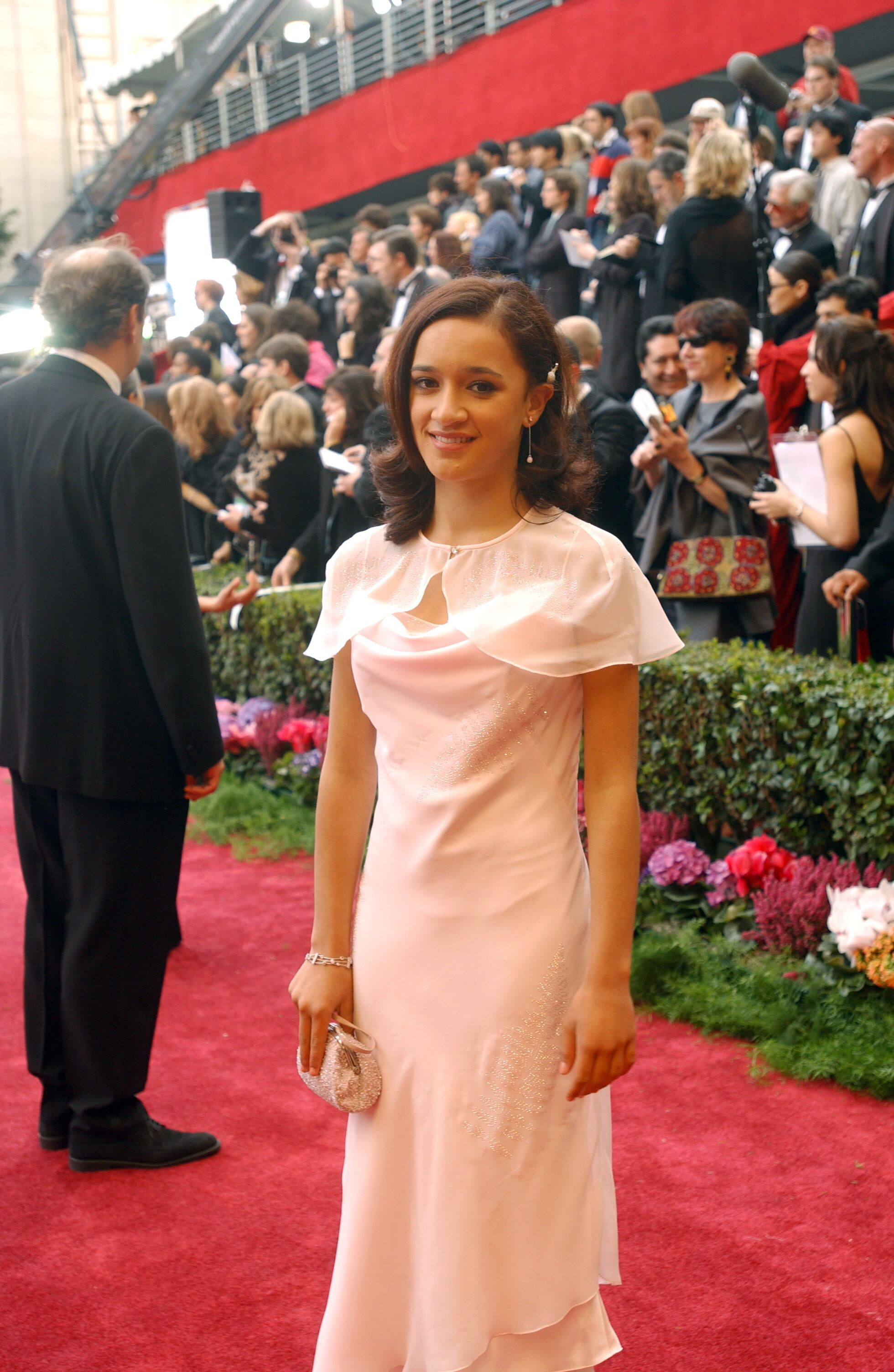 """Nominated for Best Actress for her work in """"Whale Rider,"""" Keisha Castle-Hughes arrives."""