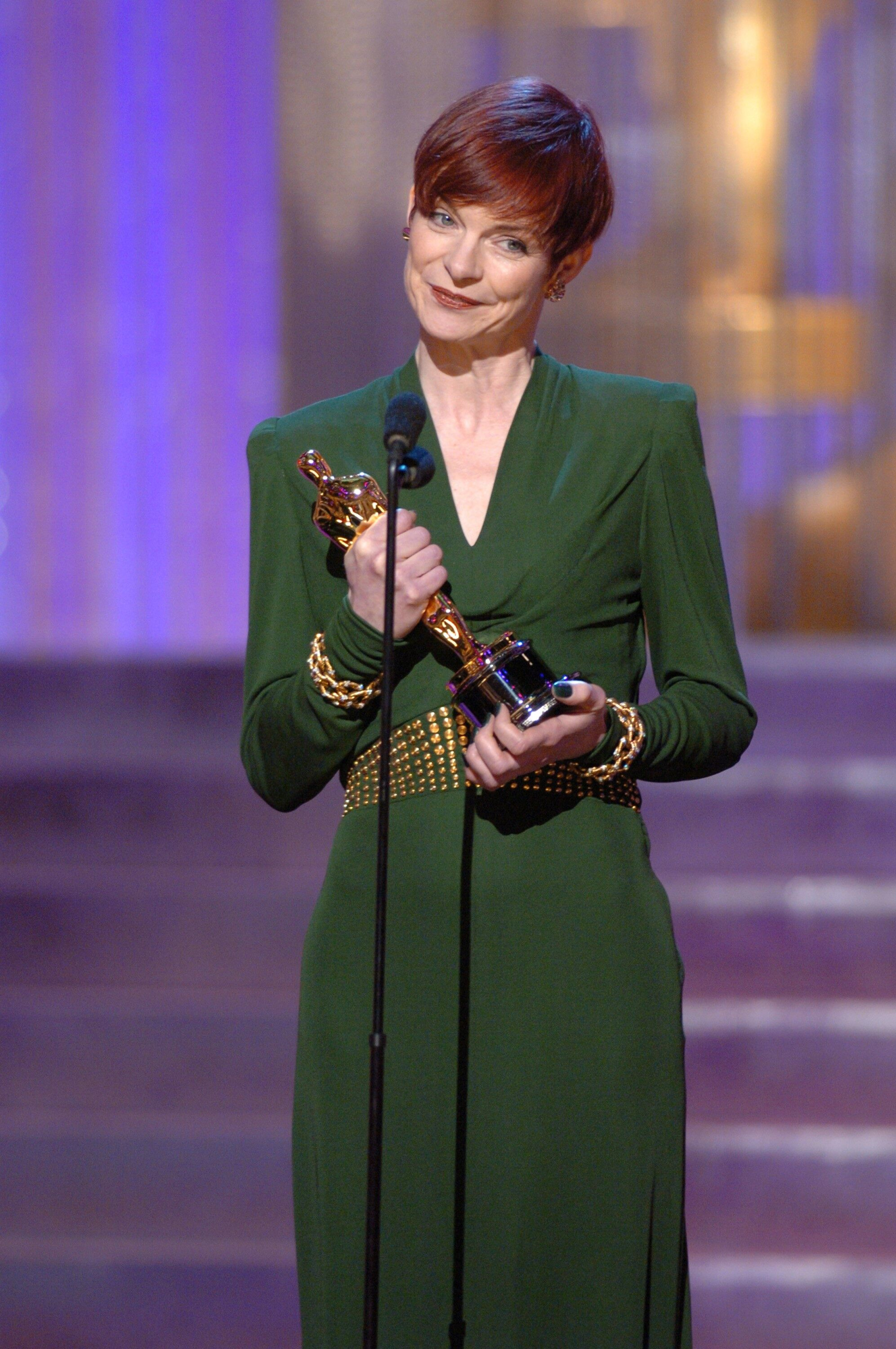 Sandy Powell accepts the Academy Award for Achievement in Costume Design.