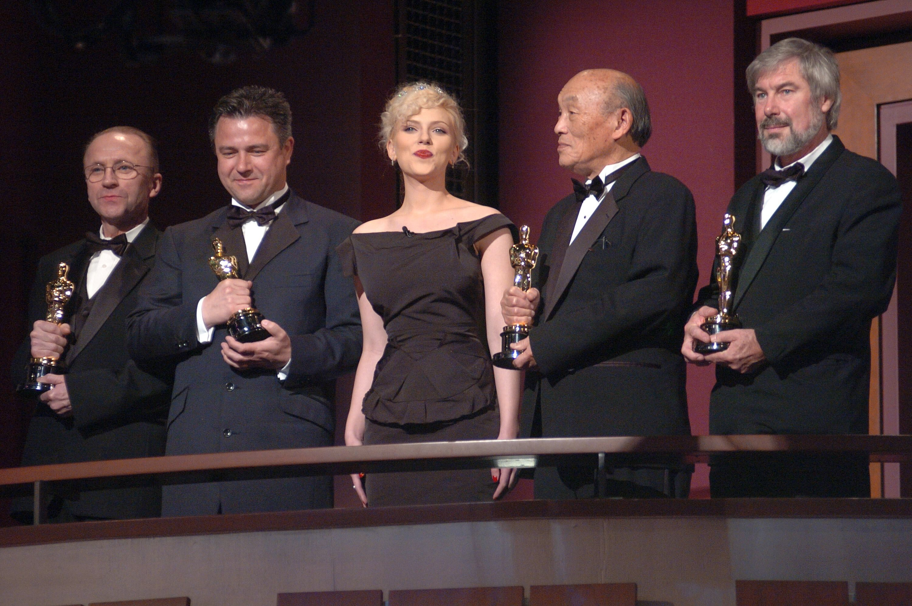 Scarlett Johansson introduces the winners of the Academy Awards for Scientific and Technical Achievement.