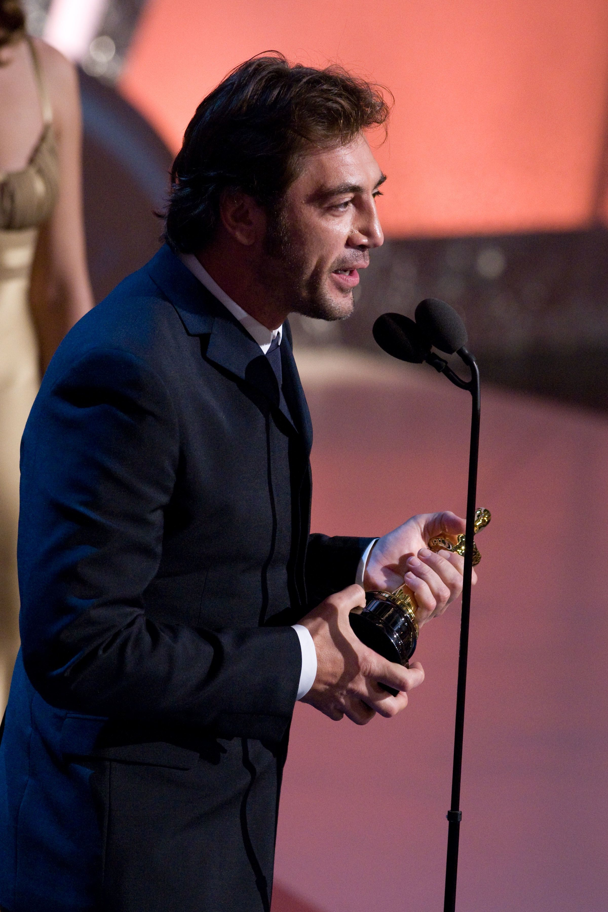Javier Bardem accepts the Academy Award for Best Supporting Actor.