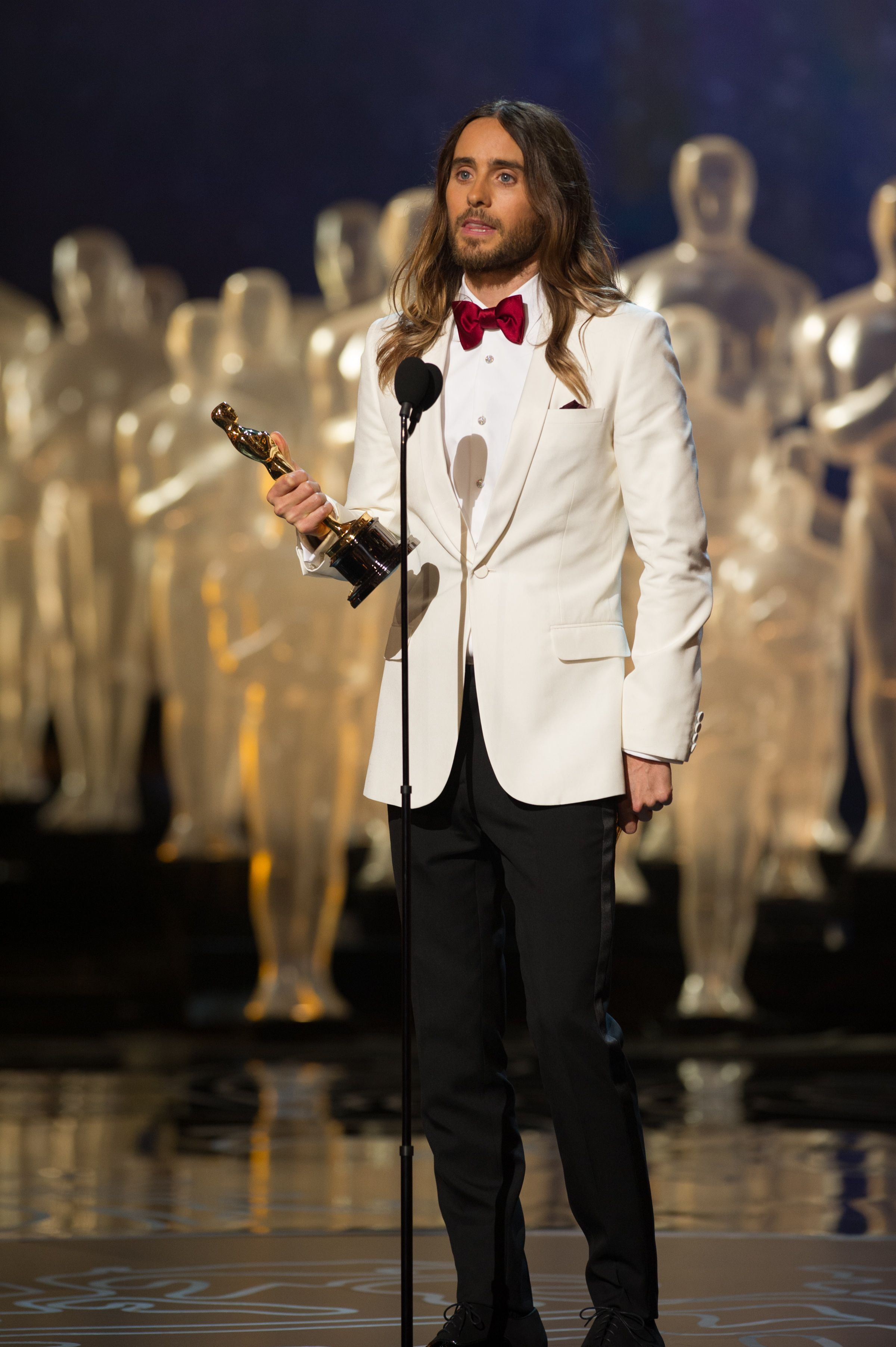 "Jared Leto accepts the Oscar® for Performance by an actor in a supporting role for his role in ""Dallas Buyers Club/"""