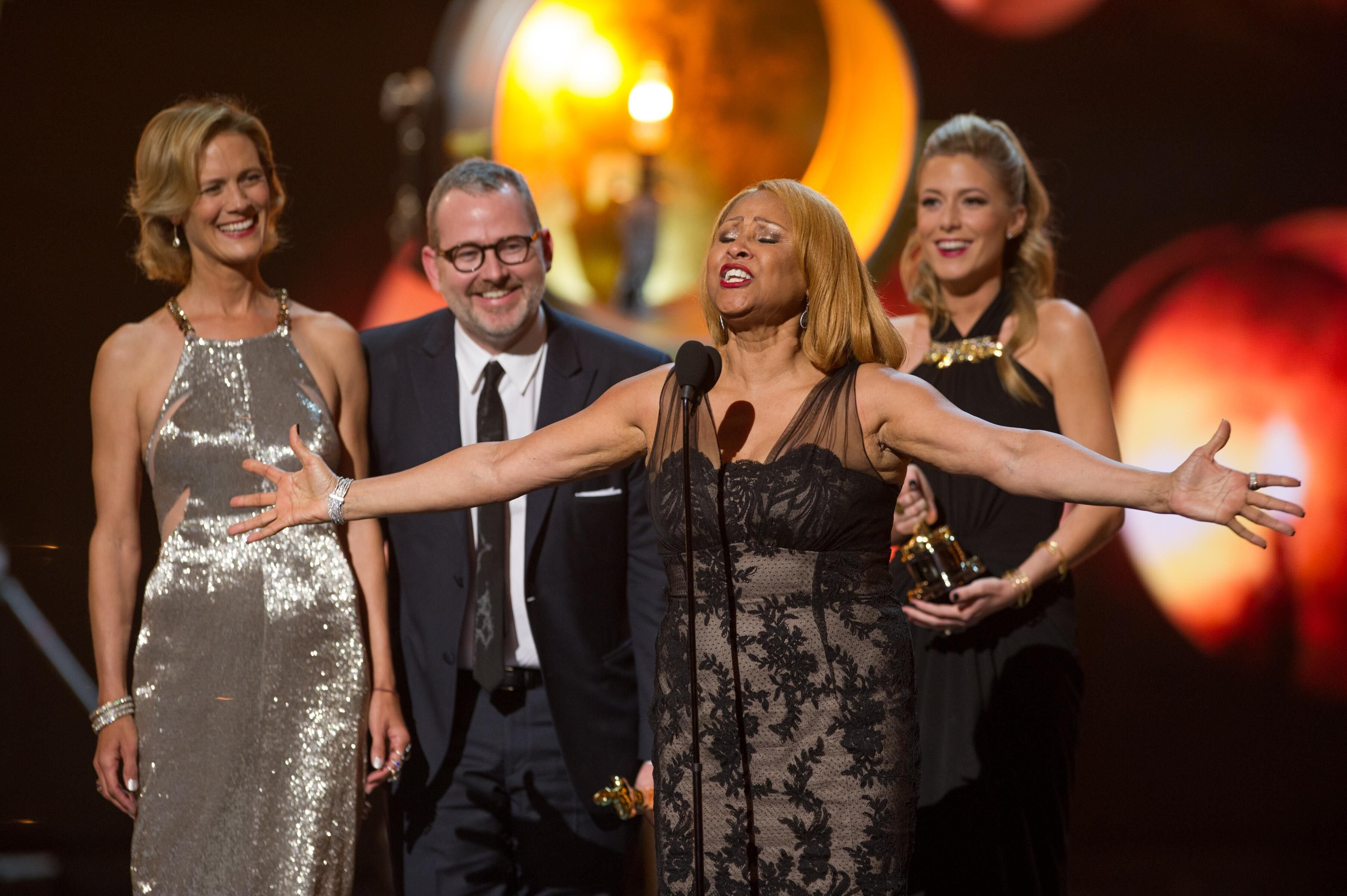 "Janet Friesen, Morgan Neville, Darleen Love, and Caitrin Rogers accept the Oscar® for the category of Best Documentary Feature for their work on ""20 Feet from Stardom/"""