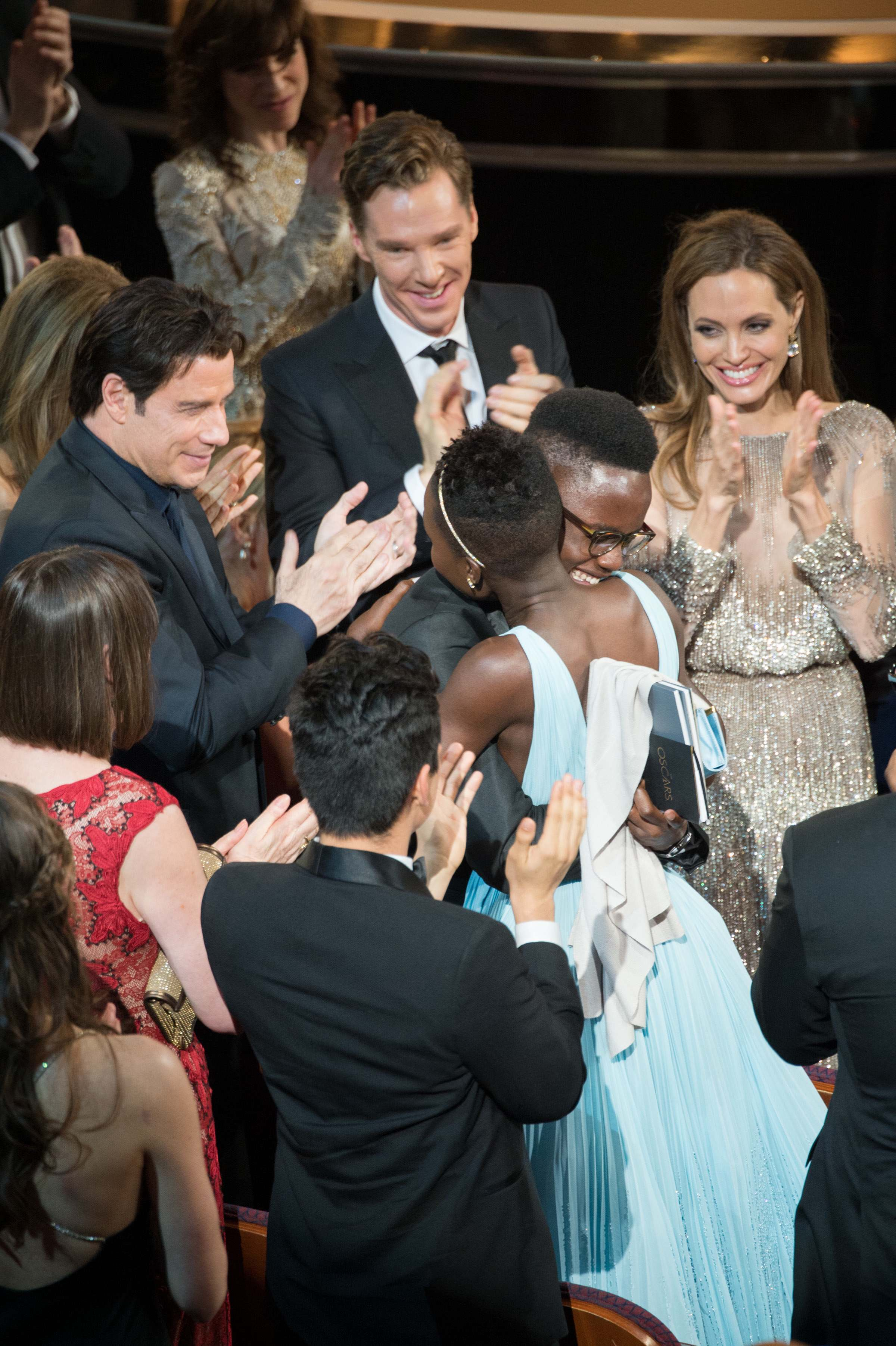 "Lupita Nyong'o reacts to winning the Oscar® for Performance by an actress in a supporting role for her role in ""12 Years a Slave."""