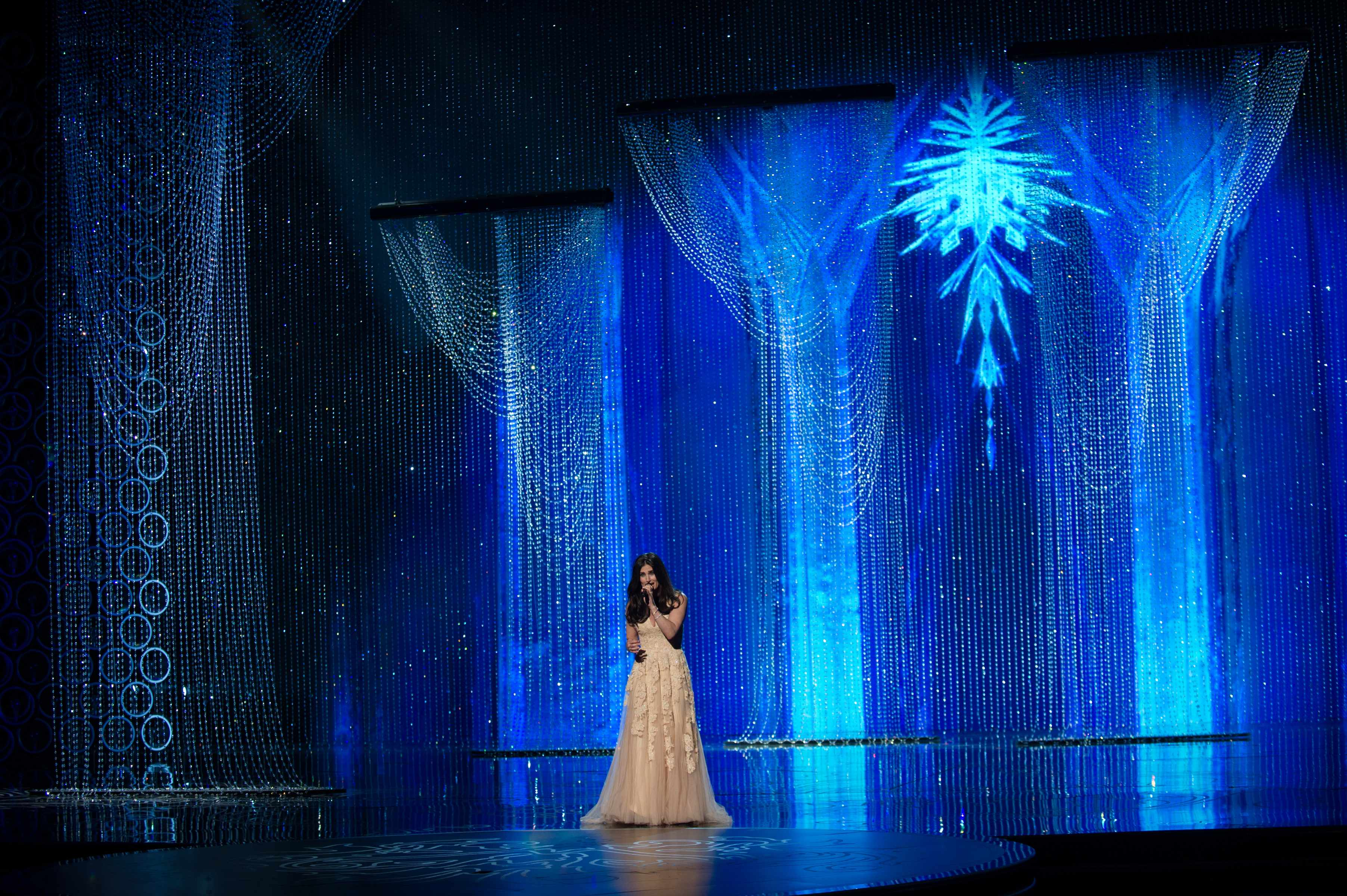 "Idina Menzel performs ""Let It Go"" from Frozen, nominated for the Academy Award for Best Original Song."