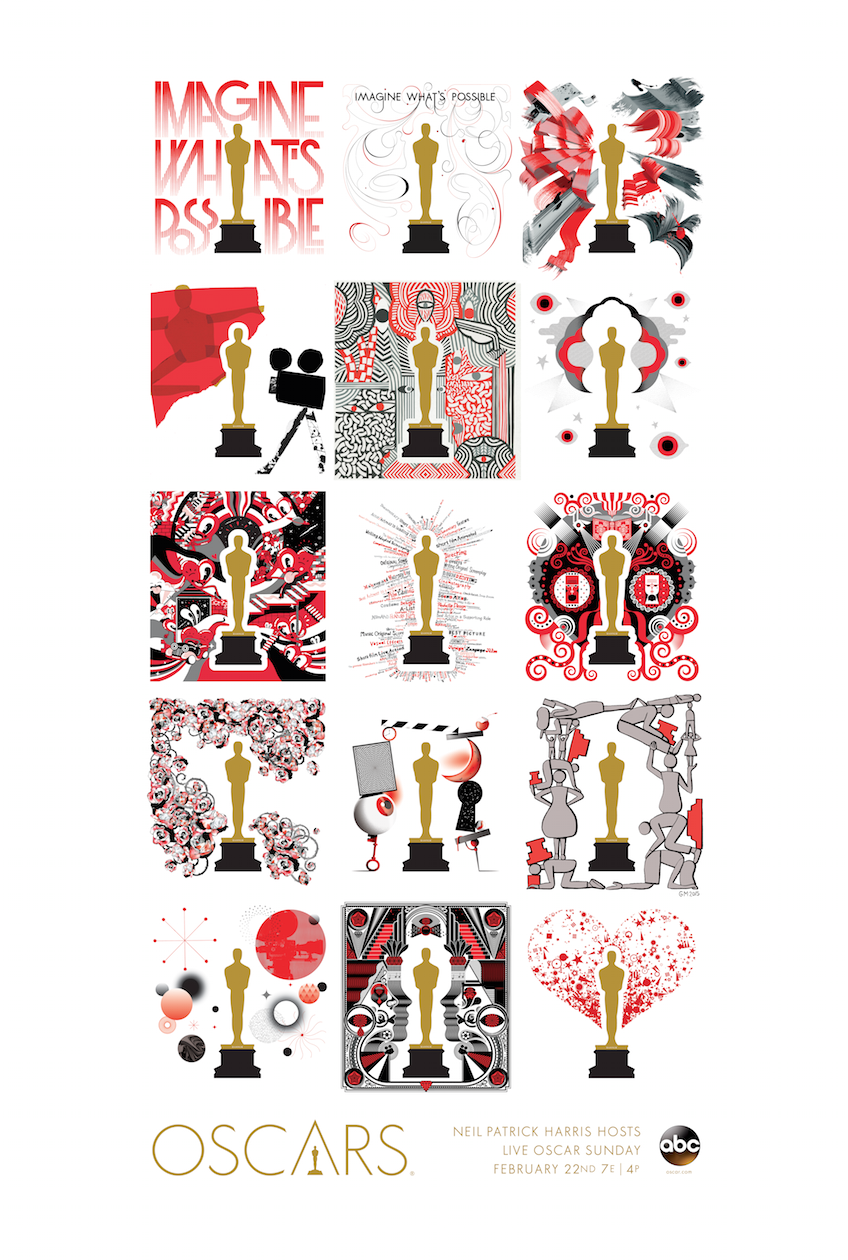 "The official poster of the 87th Oscars® features all 15 different designs from the Oscars Art Gallery. <br /> To order a poster, click <a target=""_blank"" href=""/poster"">here</a>"