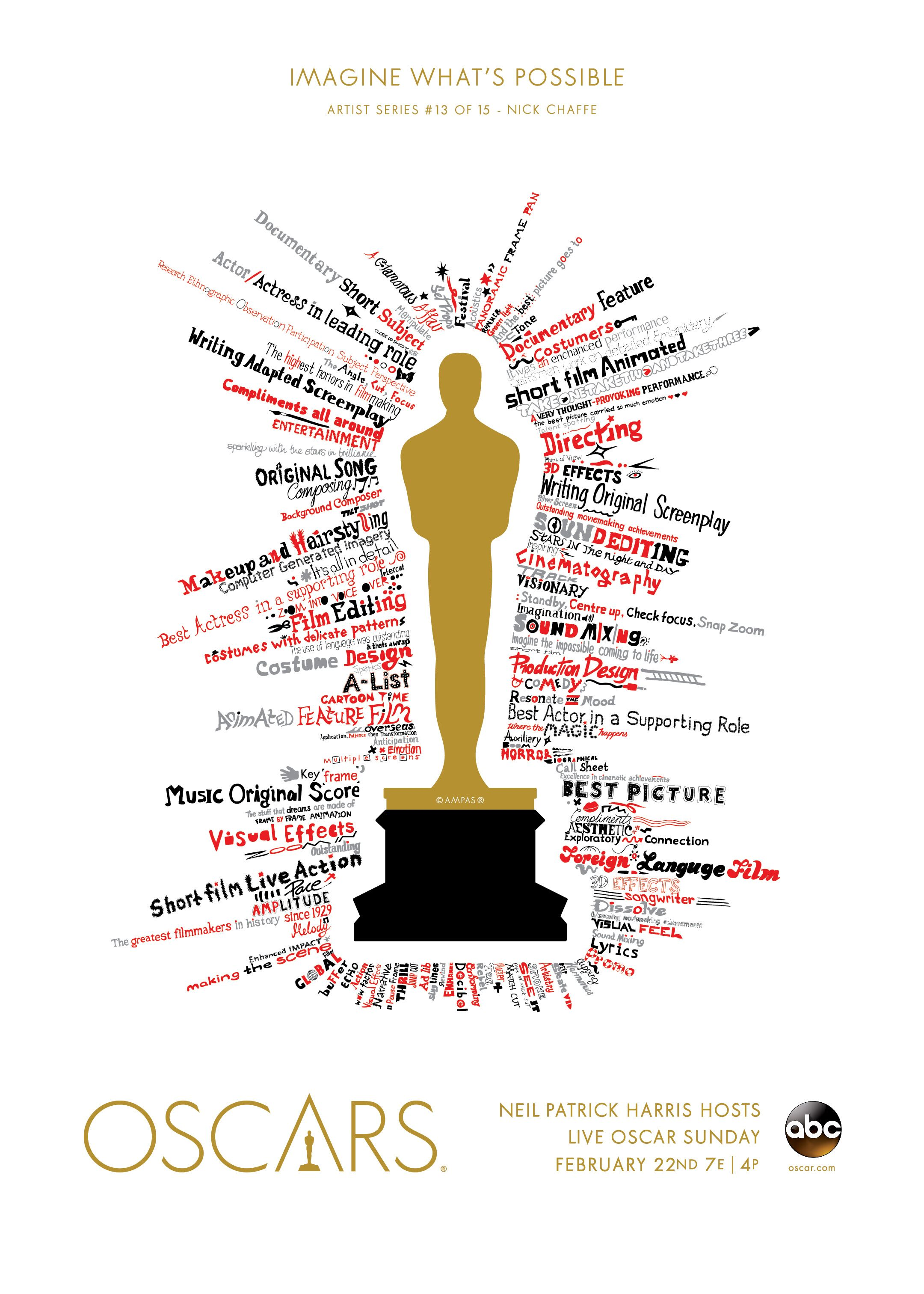 """So much effort and magic goes into making a film, and it's always heartening to watch the Oscars reward and celebrate the many people involved.  I've illustrated typography representing the many emotions around the event, so each award category can shine off the iconic gold beacon that is the Oscar."" <br /><br /> This design is part of <a href=""/art-gallery"">The Oscars Art Gallery</a>, a collection of art pieces inspired by this year's show and the phrase, ""Imagine What's Possible."" The most shared designs will be featured on the Oscars red carpet."