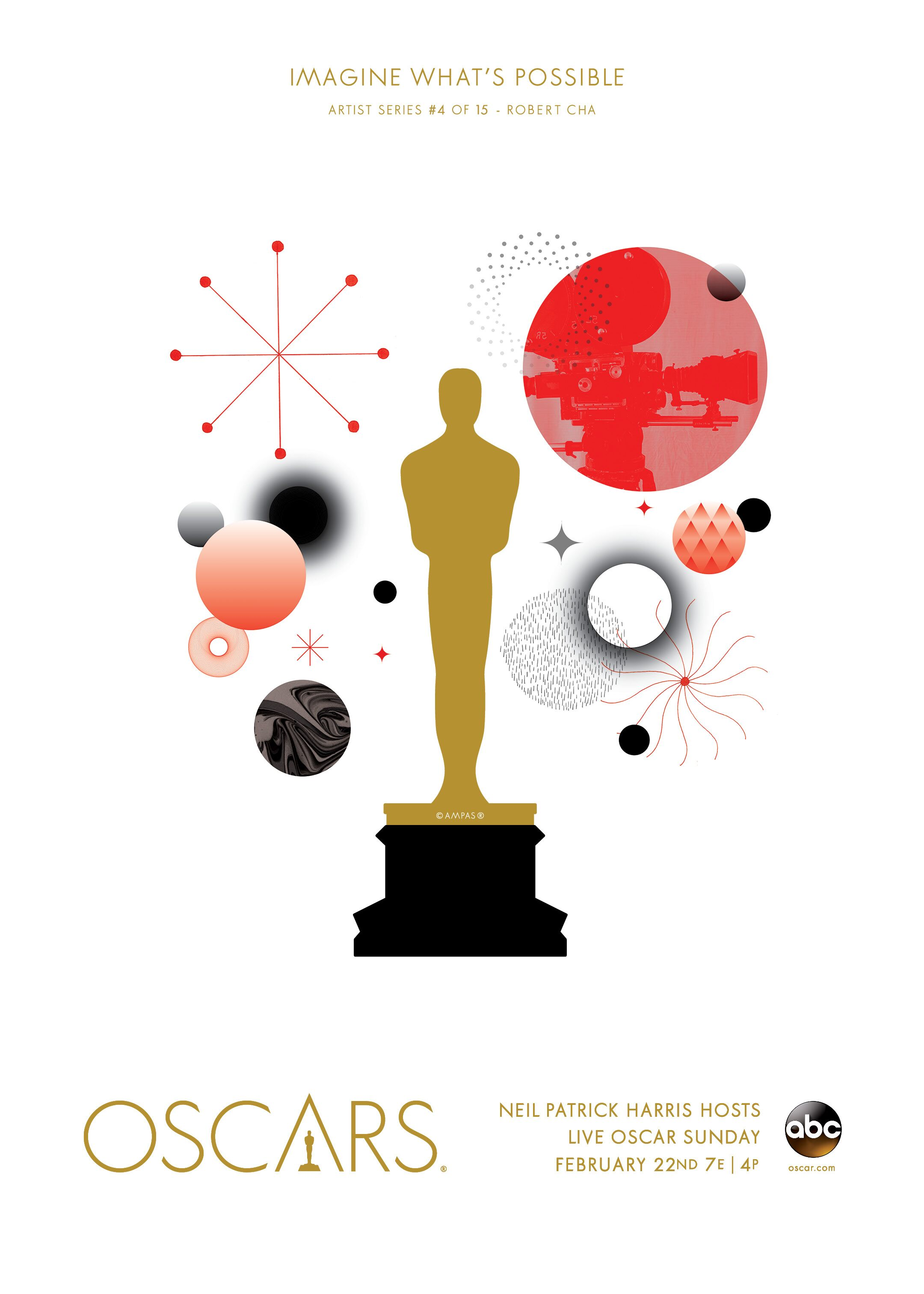 """The concept of this poster is the cinematic universe. The universe serves as a visual and literal metaphor for cinema, in that there are infinite possibilities in what we can see or imagine."" <br /><br />This design is part of <a href=""/art-gallery"">The Oscars Art Gallery</a>, a collection of art pieces inspired by this year's show and the phrase, ""Imagine What's Possible."" The most shared designs will be featured on the Oscars red carpet."