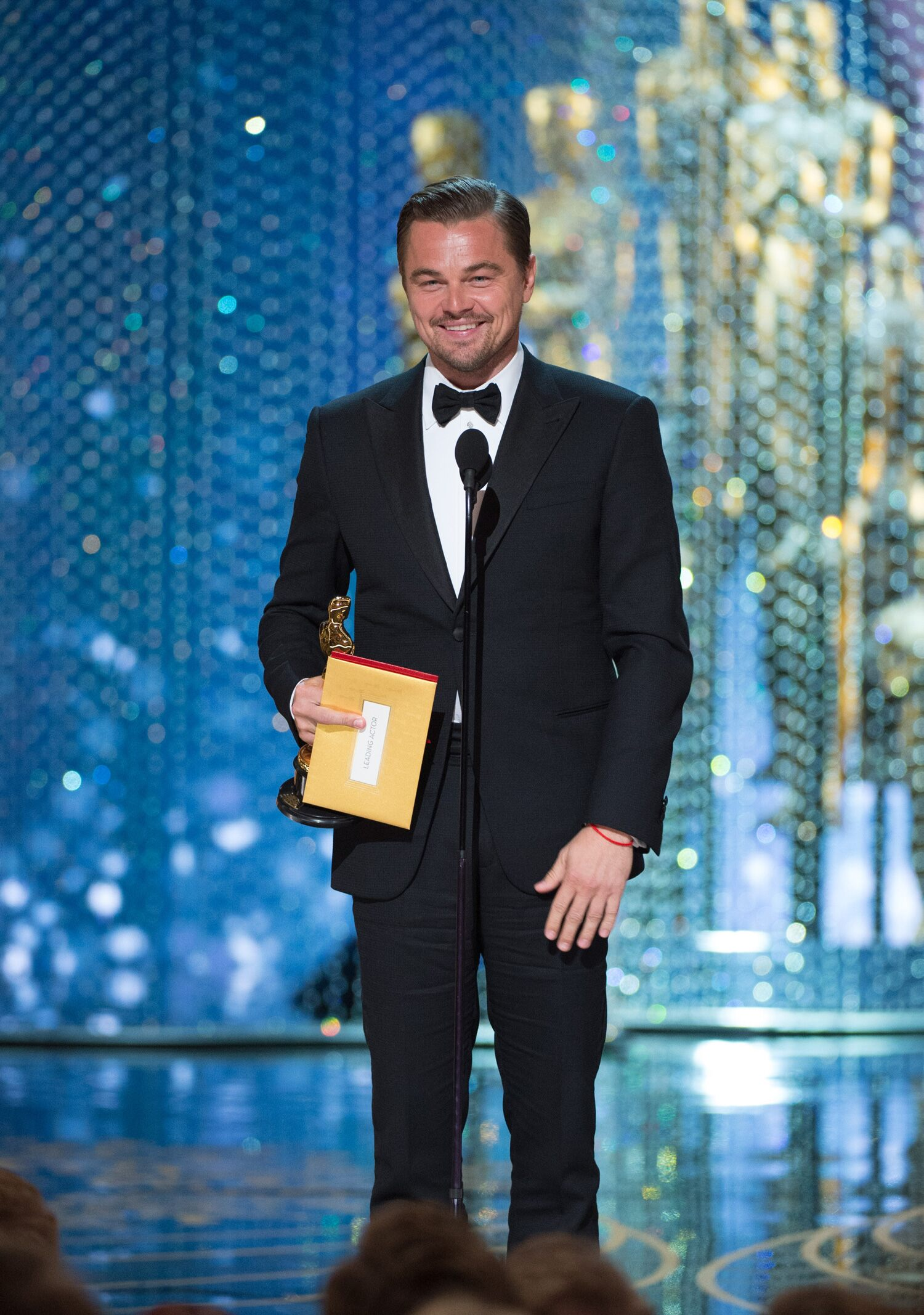 "Leonardo DiCaprio accepts the Oscar® for Performance by an actor in a Leading role, for work on ""The Revenant"""