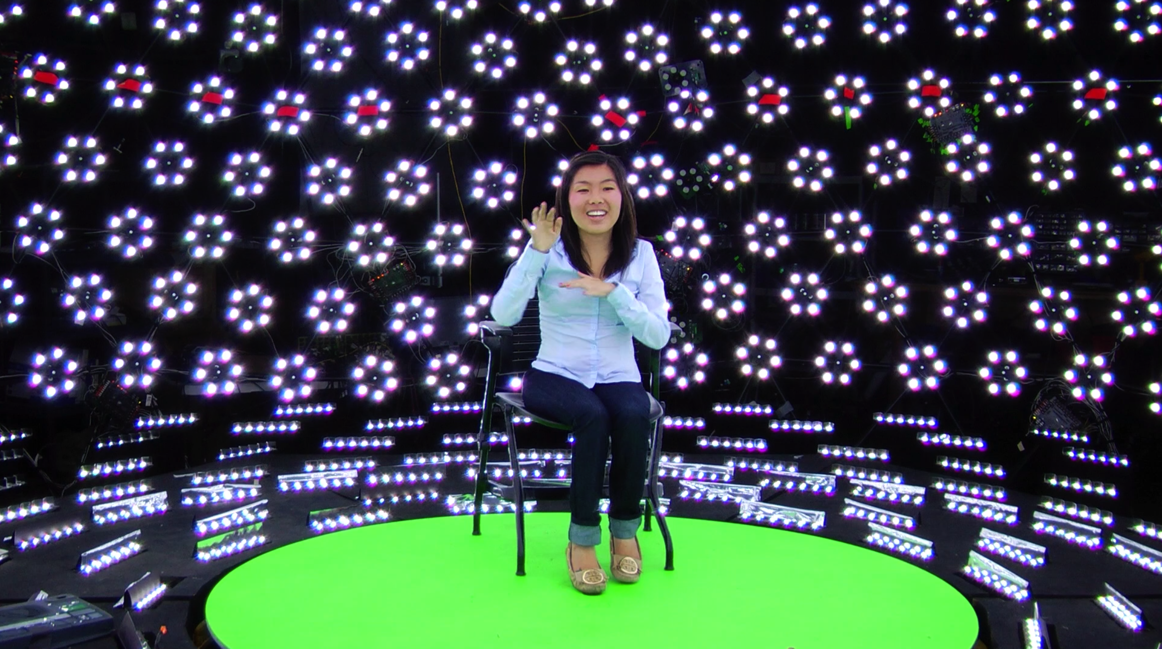 1.Kaitlin Yang on the light stage made by Paul Debevec (Academy member, Sci-Tech Awards Recipient) at the USC Institute for Creative Technologies.