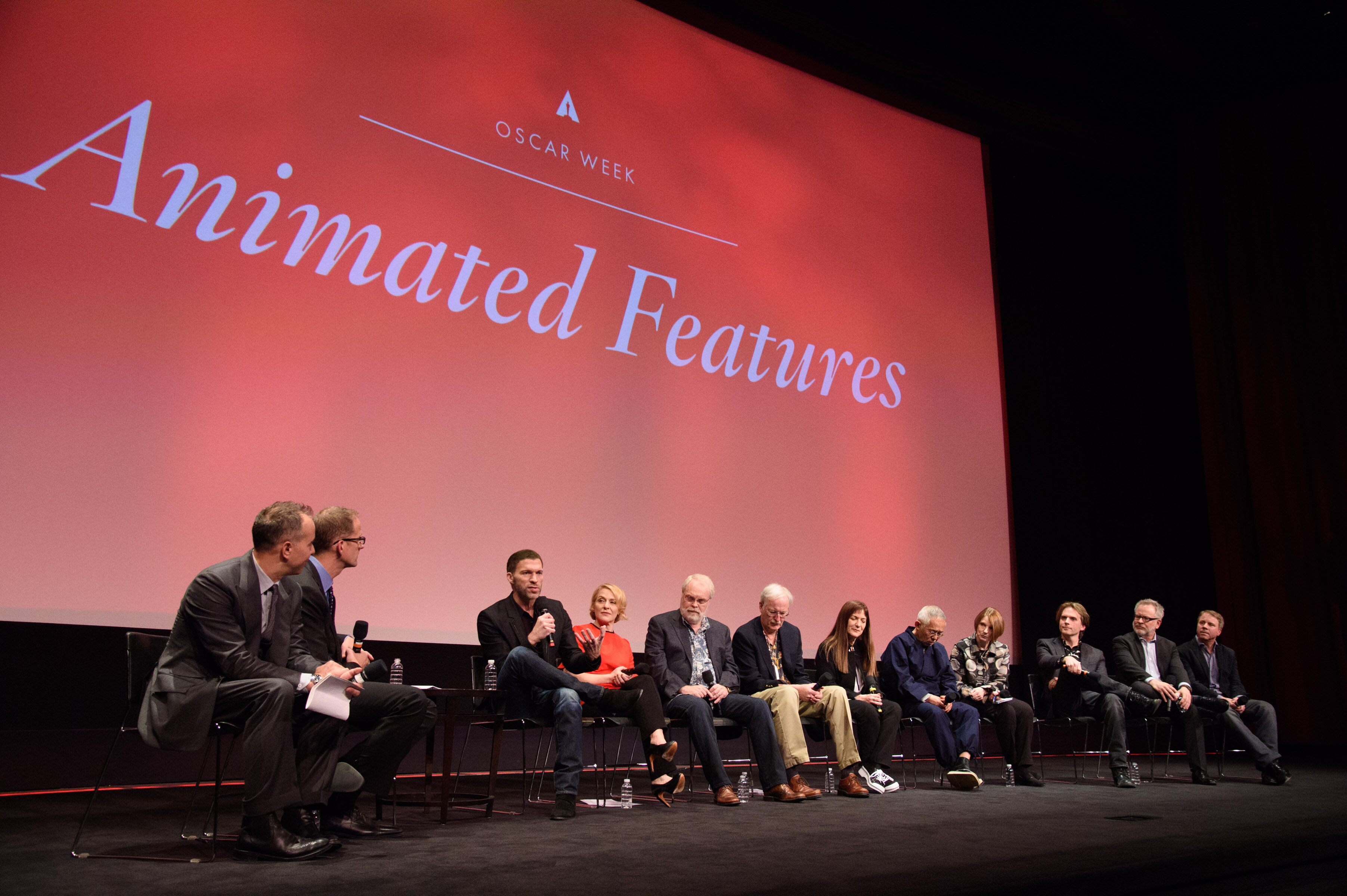 "From left: Hosts Pete Docter and Jonas Rivera with Travis Knight, director-producer, and Arianne Sutner, producer, ""Kubo and the Two Strings""; Ron Clements and John Musker, directors, and Osnat Shurer, producer, ""Moana""; Toshio Suzuki, producer, ""The Red Turtle""and translator Beth Cary; and Byron Howard and Rich Moore, directors, and Clark Spencer, producer, ""Zootopia"""