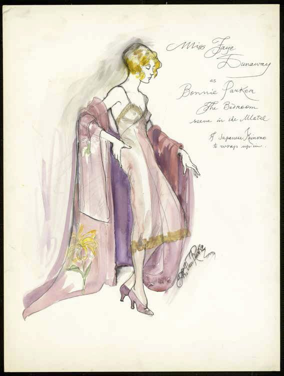 Costume design drawing for Bonnie and Clyde (1967). From the Theadora Van Runkle collection.
