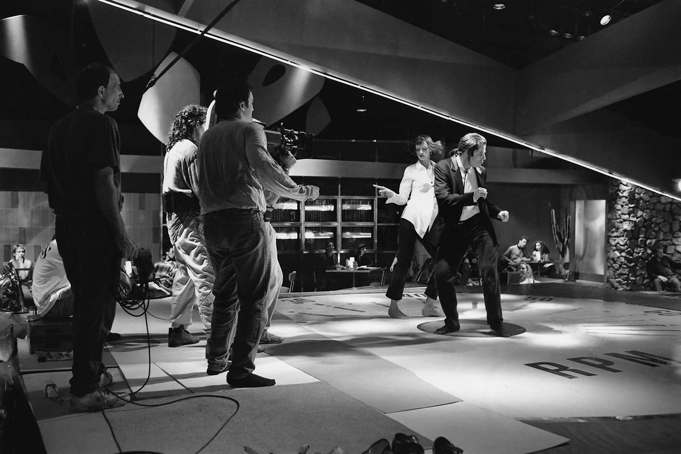 Oscar-nominated actors Uma Thurman and John Travolta shoot their famous dance scene at Jack Rabbit Slim's, with Quentin Tarantino twisting on the sidelines