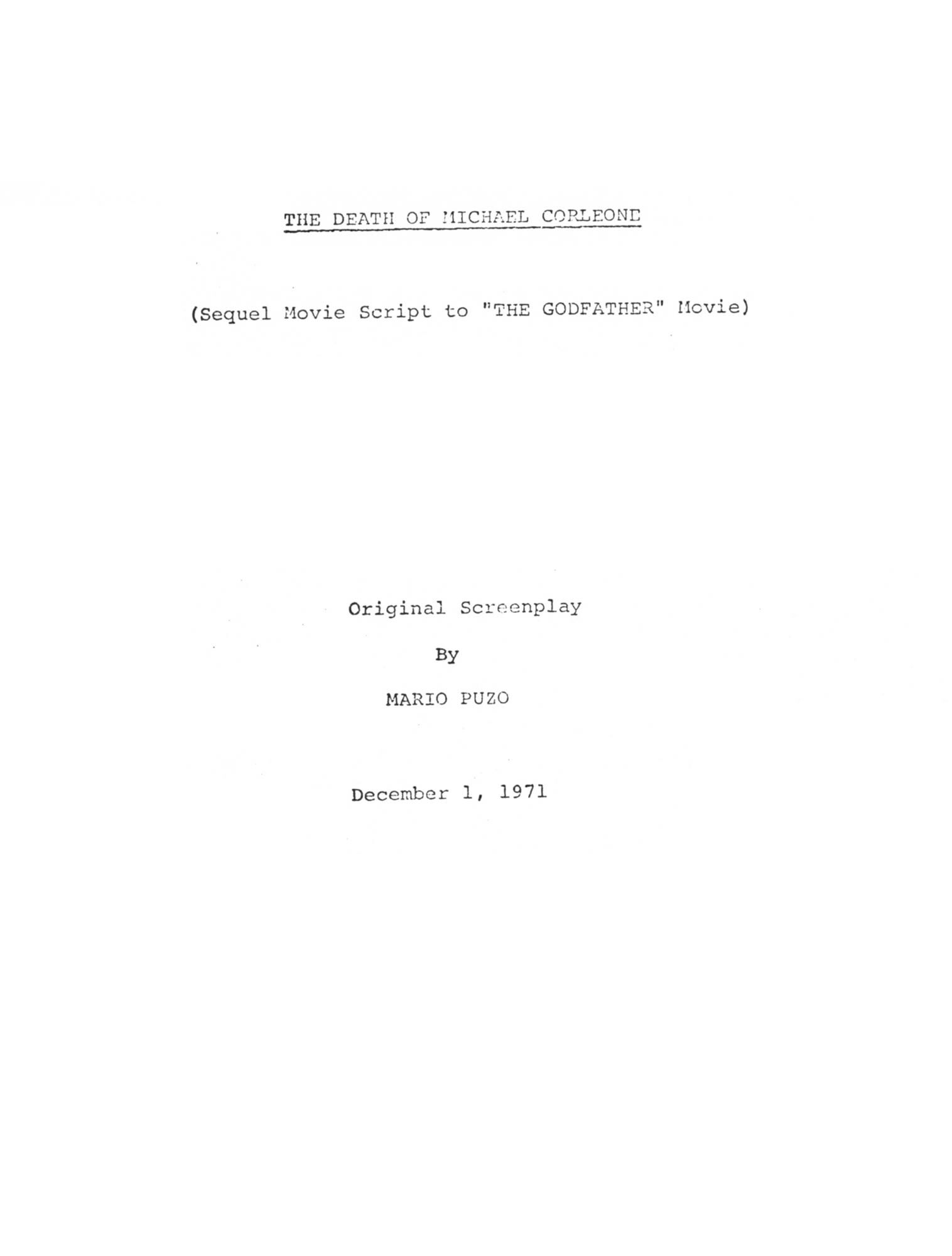 First draft by Mario Puzo