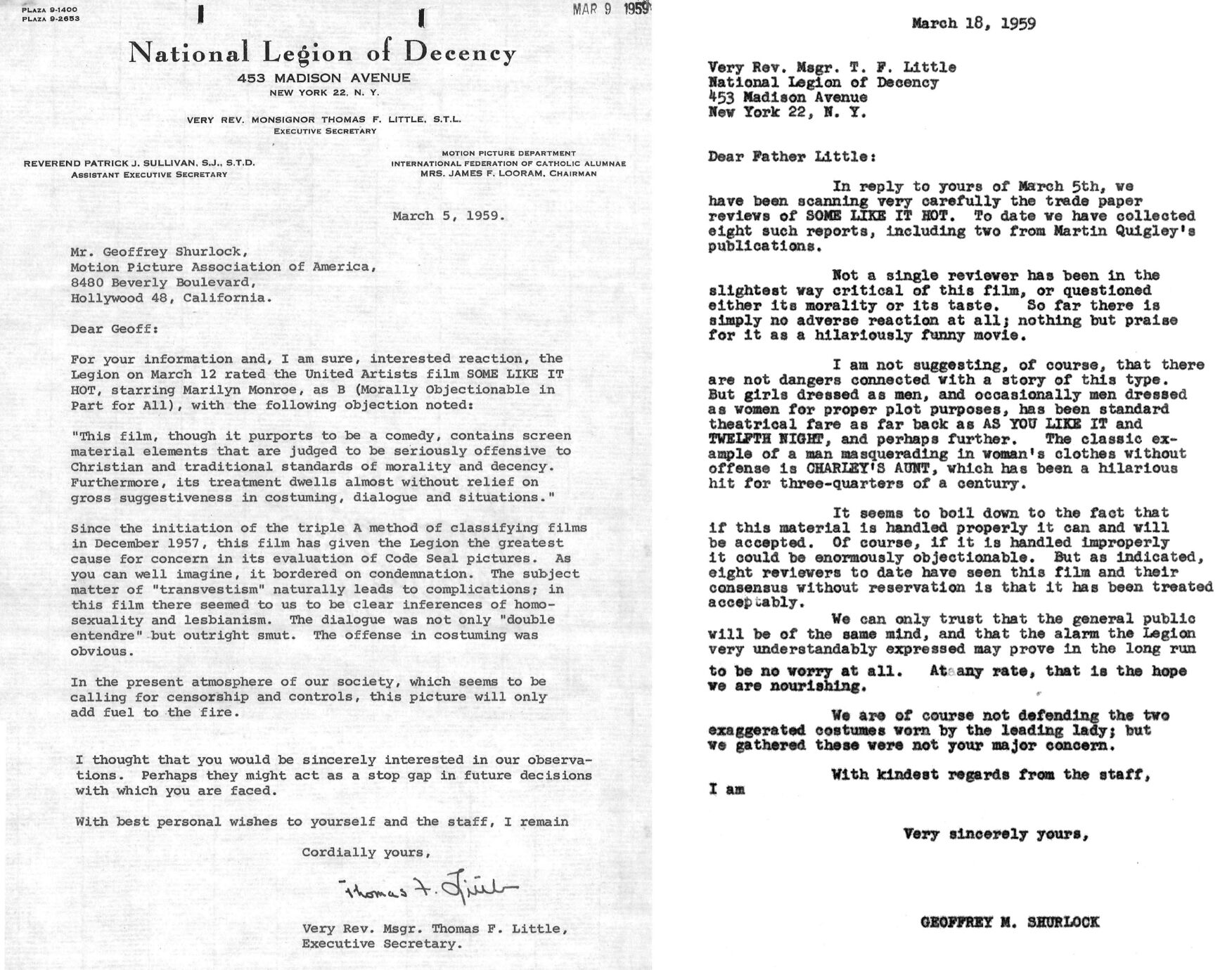 Letters between the Production Code and National Legion of Decency
