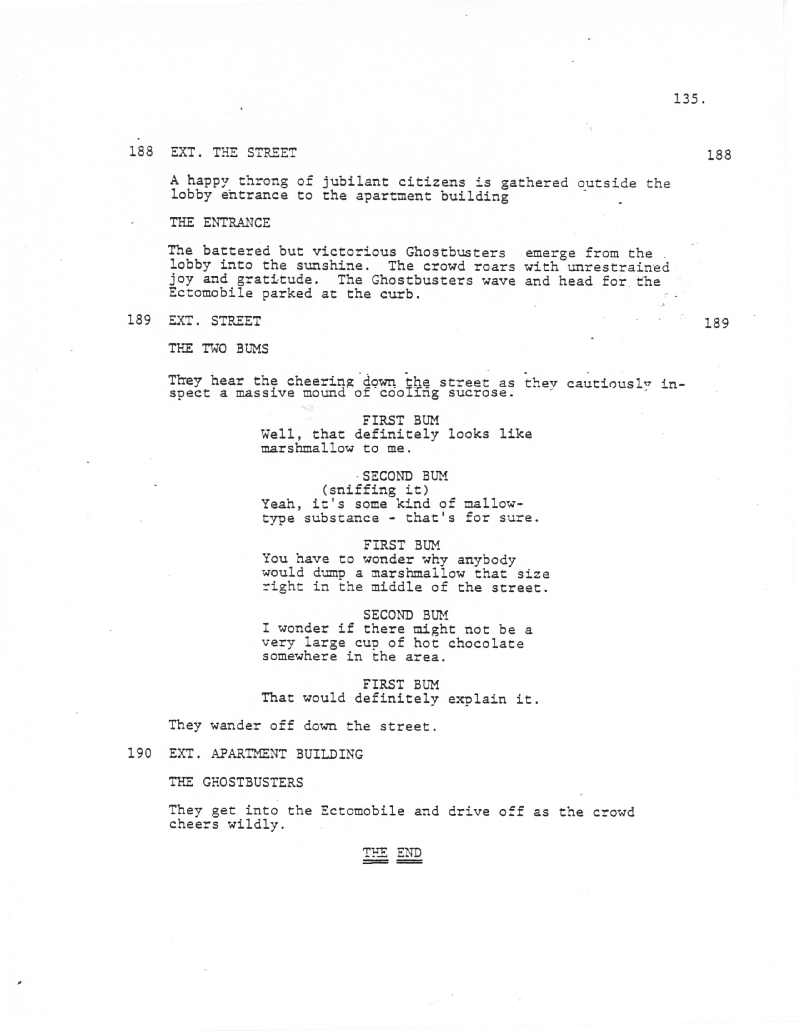from an early screenplay draft