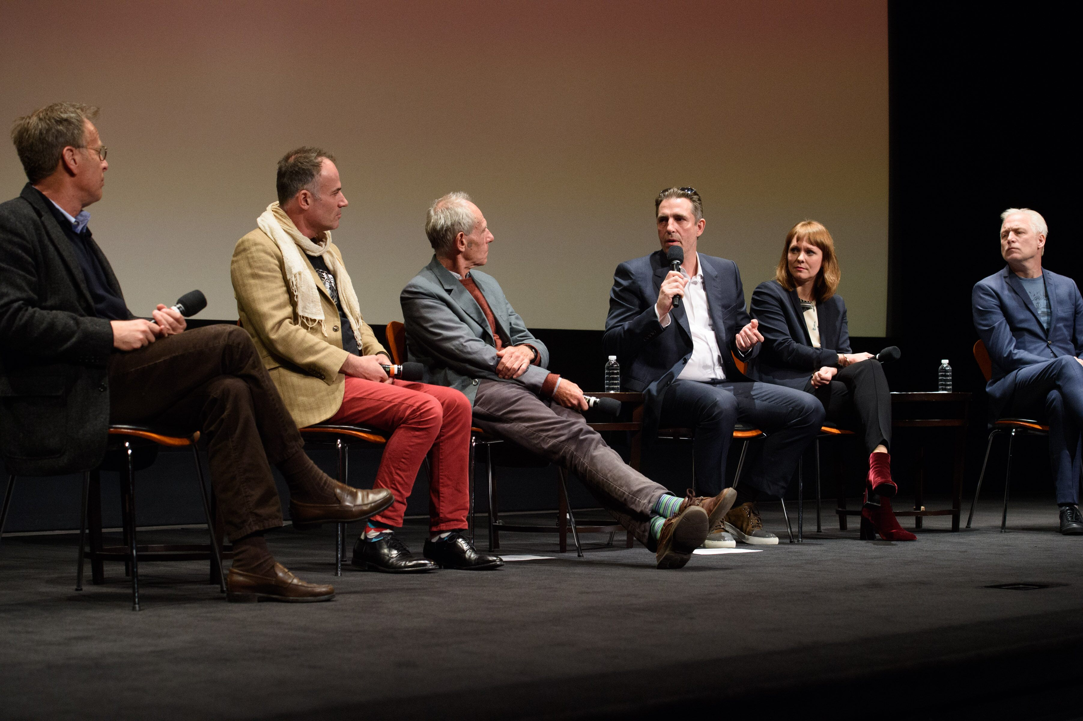 "From left: Academy Governor Mark Johnson, Bentley Dean and Martin Butler (""Tanna""), Martin Zandvliet (""Land of Mine""), Maren Ade (""Toni Erdmann"") and Hannes Holm (""A Man Called Ove"")"