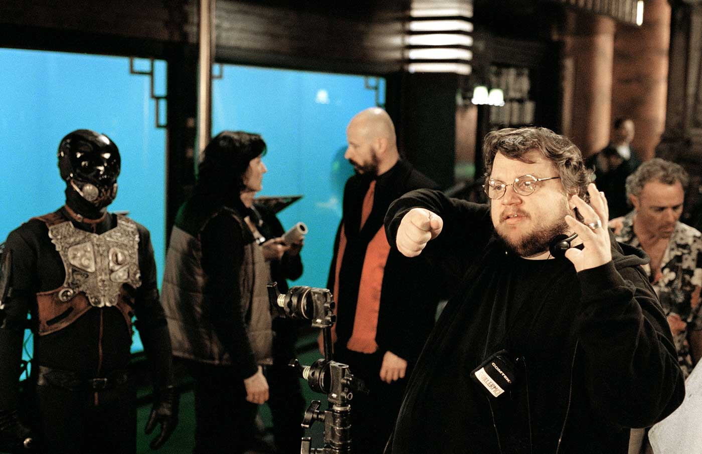 Director Guillermo del Toro directs a scene in his favorite environment.