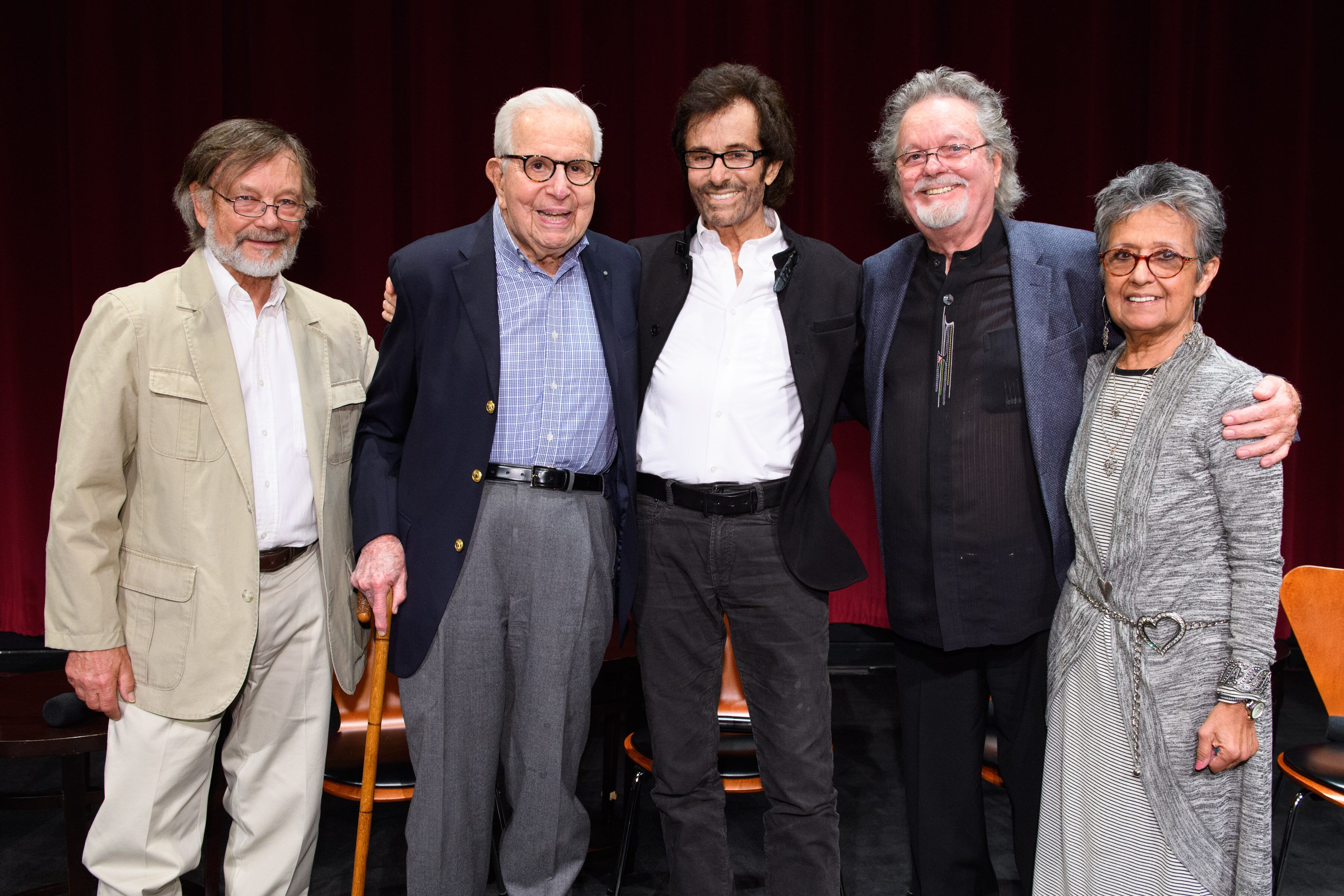Pictured (left to right): Robert Banas, Walter Mirisch, George Chakiris, Russ Tamblyn and Maria Jimenez Henley.