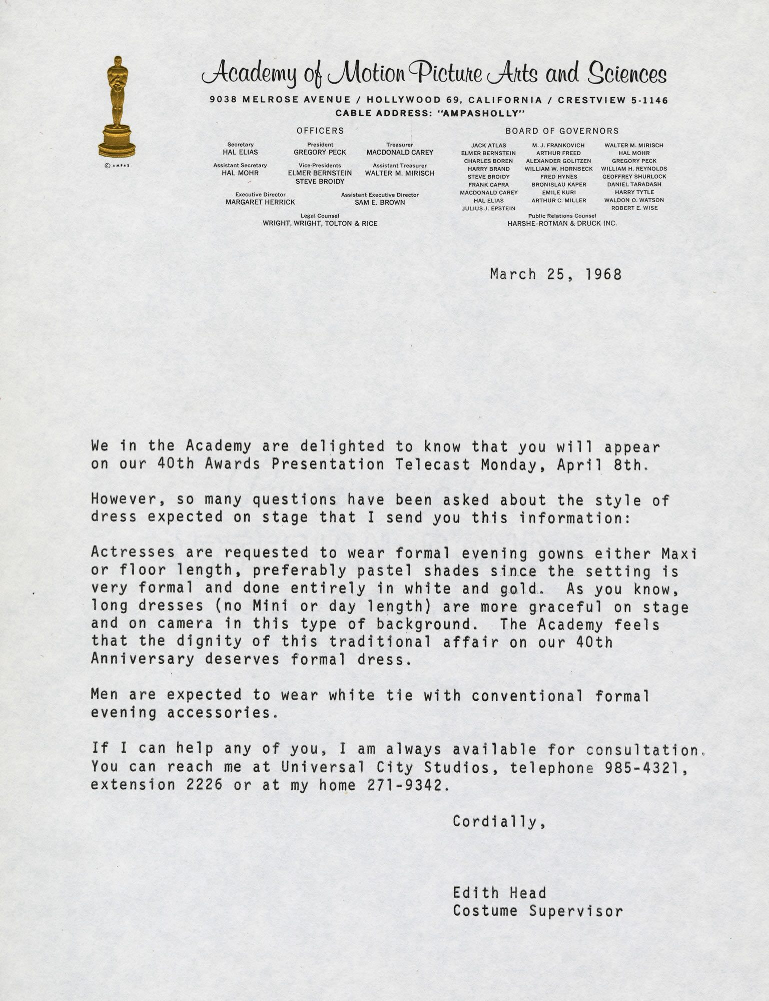For the 1968 Academy Awards