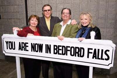 Left to right: Carol Coombs Mueller, Jimmy Hawkins, Tom Capra and Karolyn Grimes