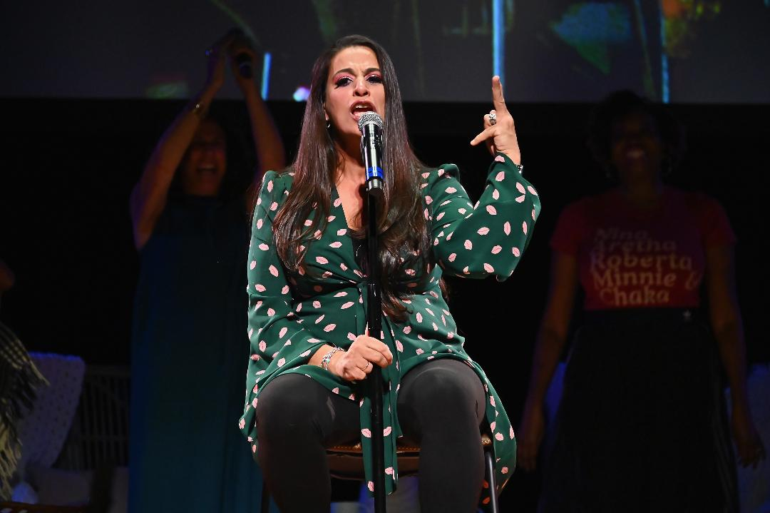 """2.Maysoon Zayid filming her web series, """"Advice You Don't Want to Hear"""" at the amphitheater in Rawabi, West Bank."""