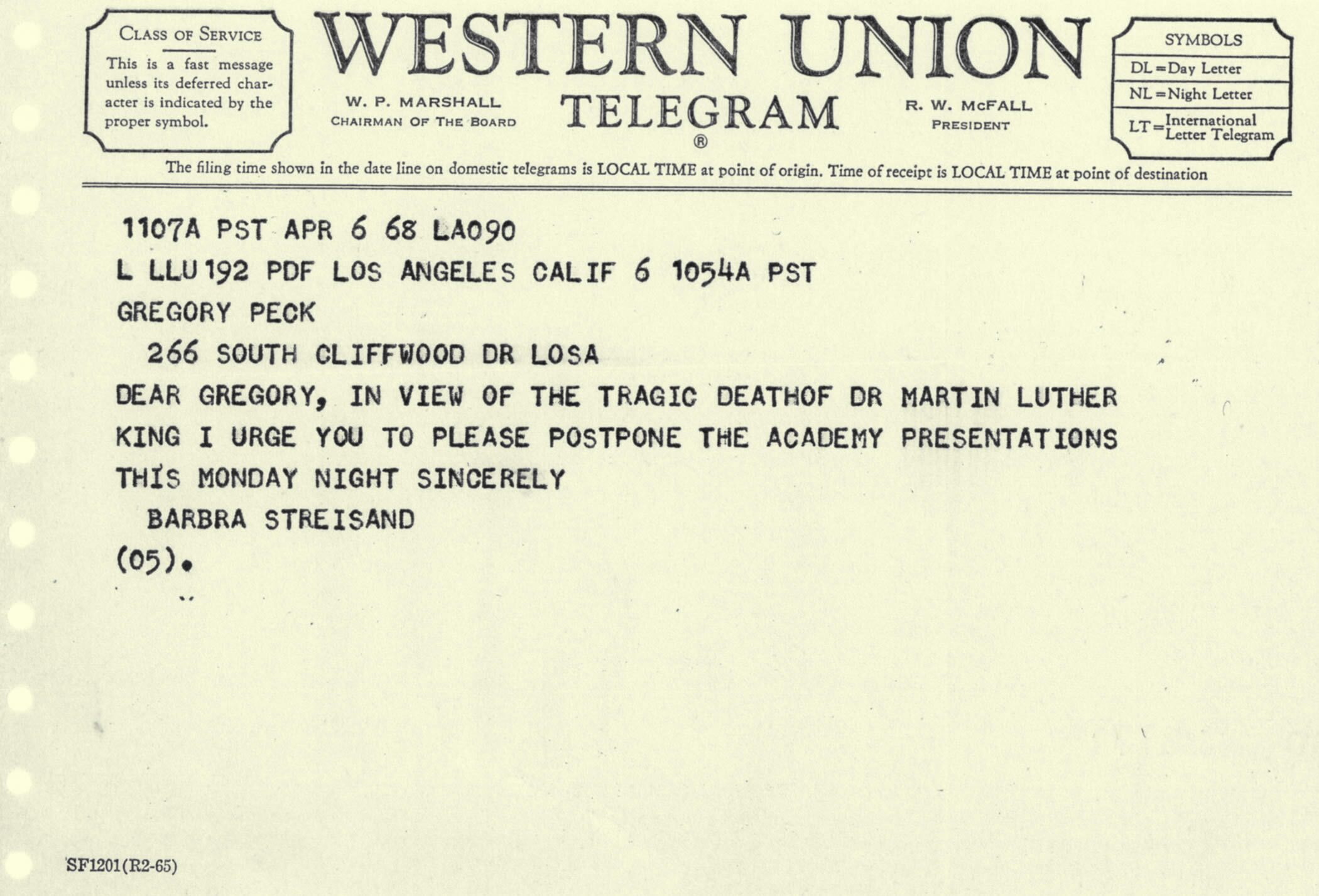 to Academy President Gregory Peck