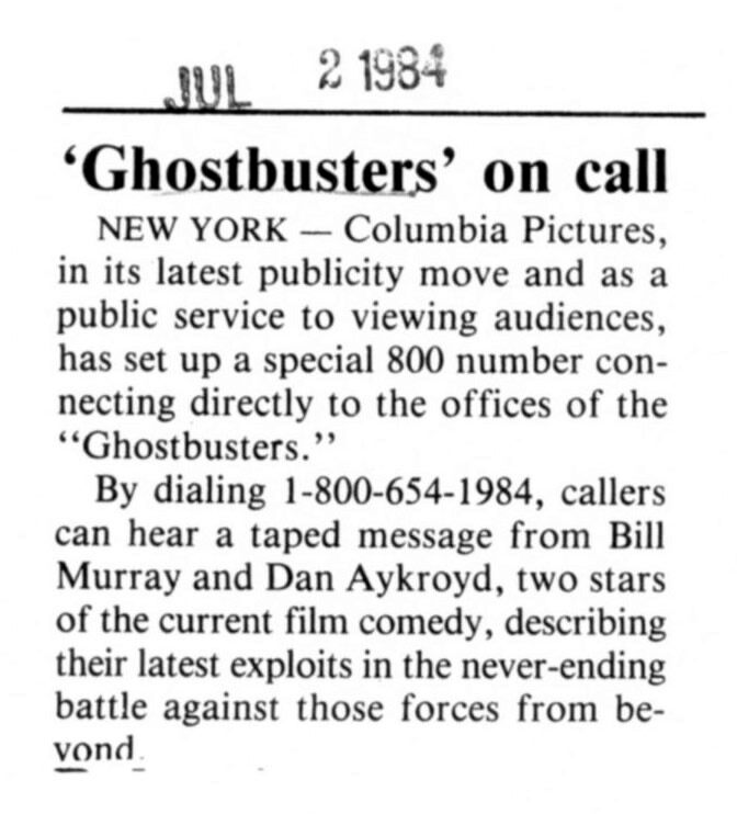 A real-life Ghostbusters phone number