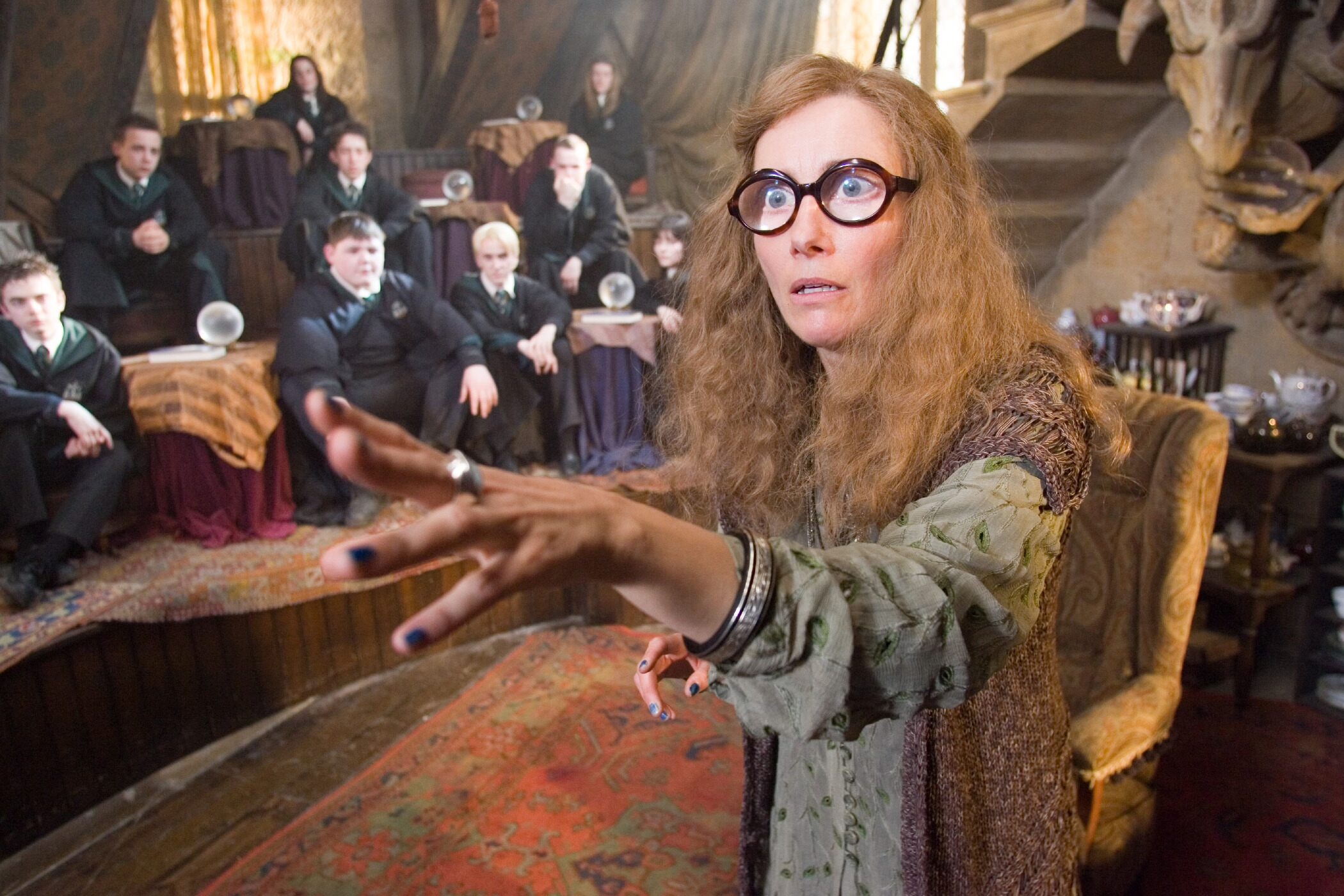 The multiple Oscar winner appeared in three of the Harry Potter films as divination instructor Sybil Trelawney.