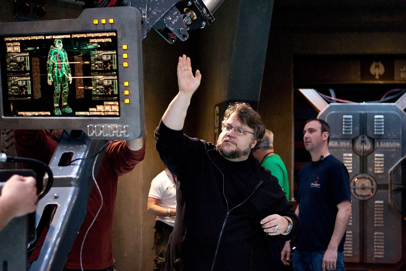 Giant robots and kaiju (Japanese monsters) collided in the 2013 film, which featured elaborate creations by Industrial Light & Magic and Legacy Effects. Director Guillermo del Toro is seen here during production.