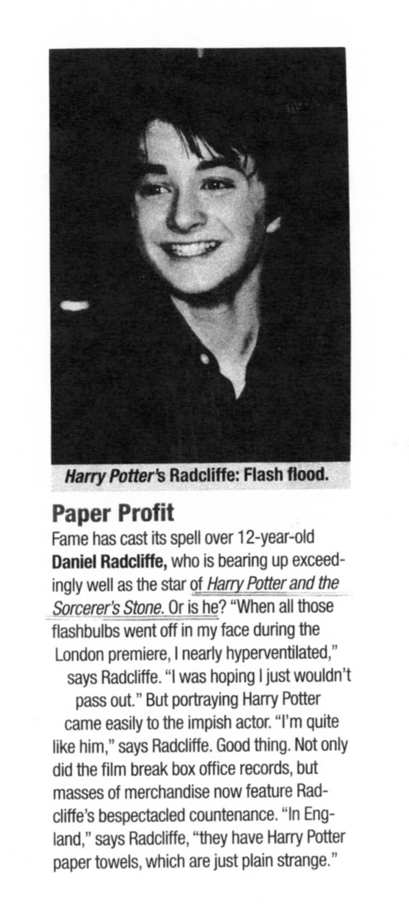 Daniel Radcliffe's First Brush with Fame
