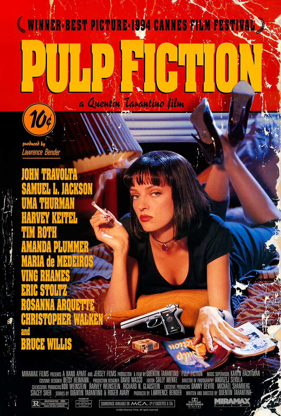 The theatrical poster art for PULP FICTION reflected the hardboiled crime influence in the anthology film, which was also inspired by multi-story Italian film Black Sabbath. Contrary to the artwork, ticket prices did not cost 10 cents.