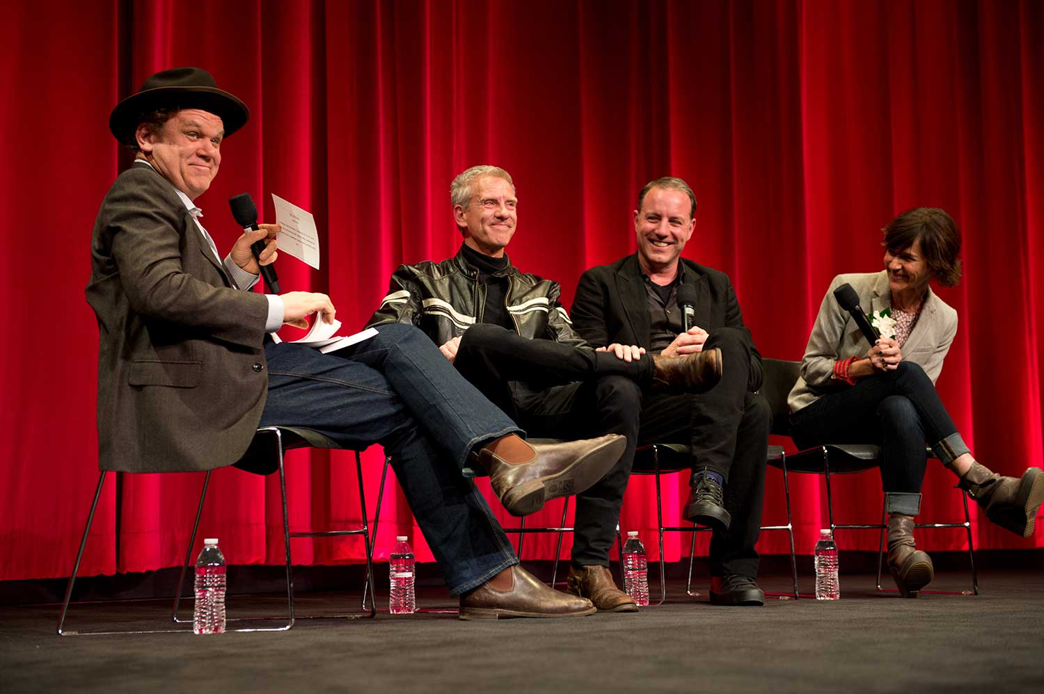 The filmmakers with host John C. Reilly.