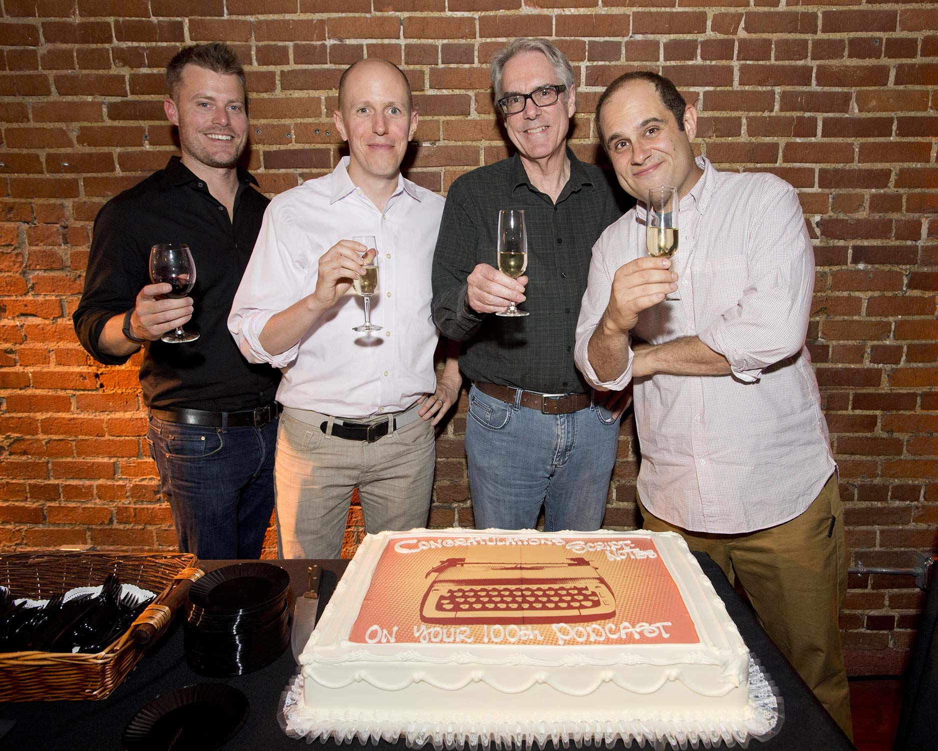 Pictured (left to right) screenwriter Rawson Thurber, co-host John August, Director of the Academy Nicholl Fellowships Greg Beal and co-host Craig Mazin.