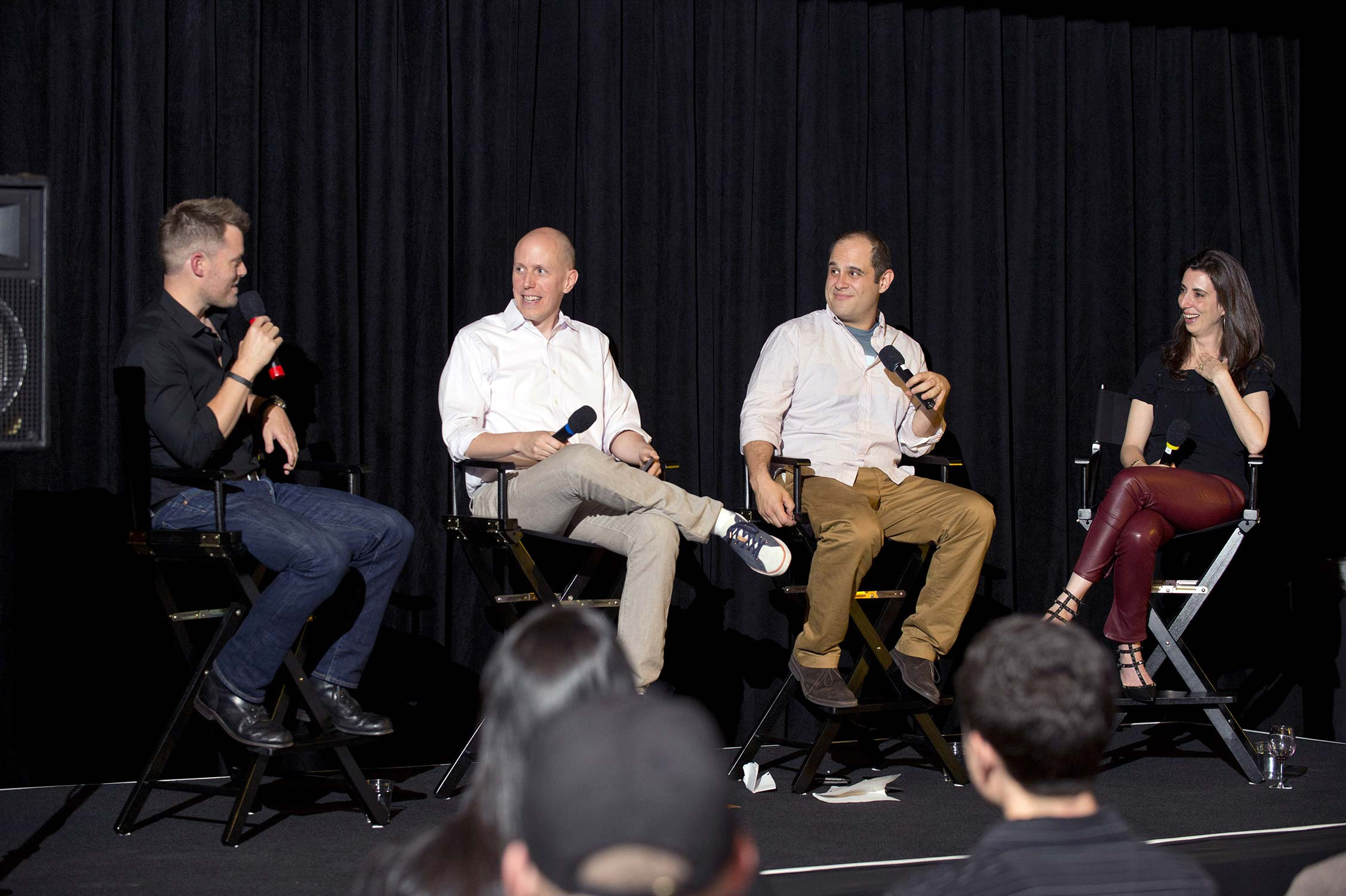 Pictured (left to right) screenwriters Rawson Thurber, John August, Craig Mazin and Aline Brosh McKenna.