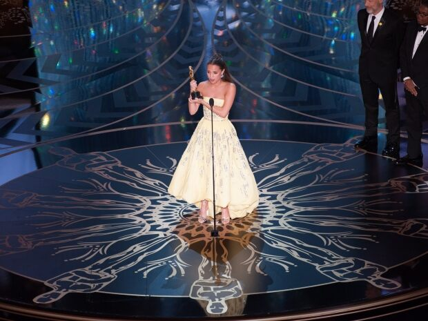 """Alicia Vikander accepts the Oscar® for Performance by an actress in a supporting role, for her role in """"The Danish Girl"""""""