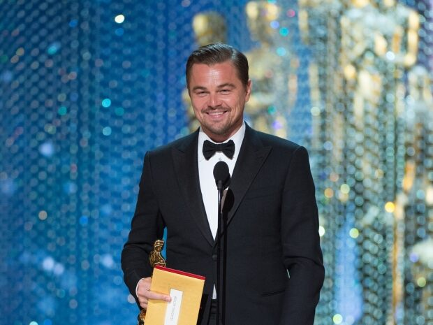 """Leonardo DiCaprio accepts the Oscar® for Performance by an actor in a Leading role, for work on """"The Revenant"""""""