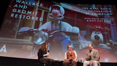 "Animation historian Maureen Furniss (left), cinematographer Dave Alex Riddett (center) and Aardman Animations' co-founder David Sproxton during ""Wallace and Gromit Restored"""
