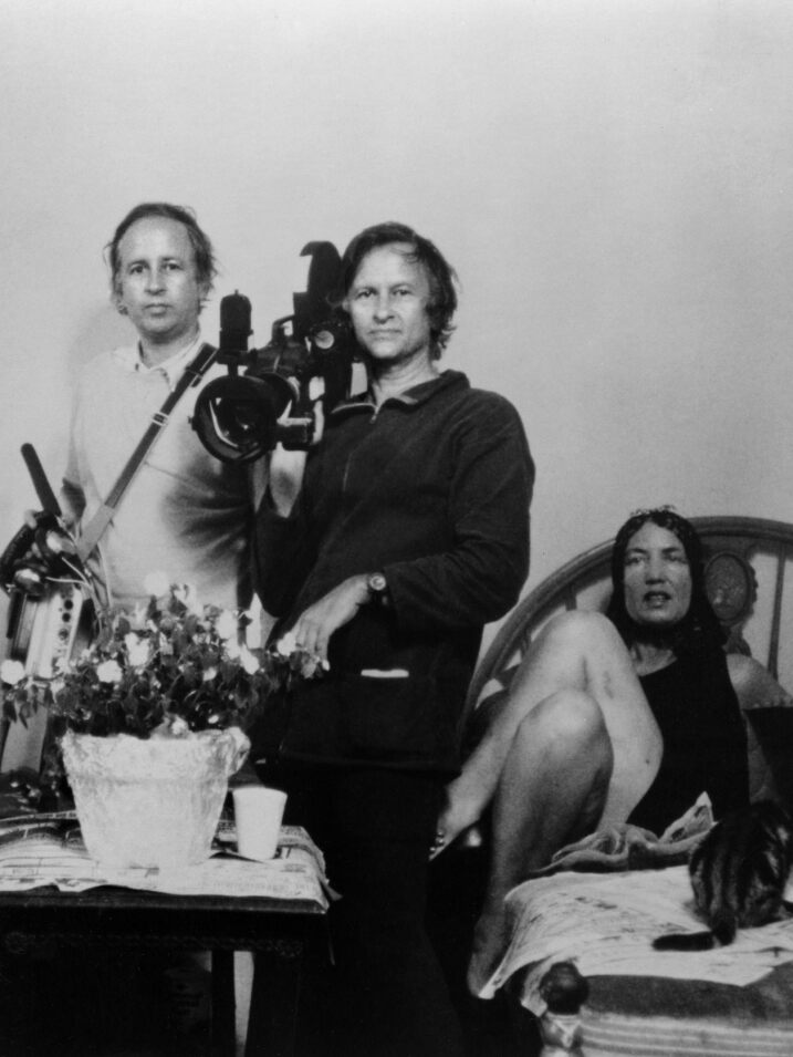 Edith Bouvier Beale, David Maysles, Albert Maysles and Little Edie' Beale during production of GREY GARDENS, 1976.