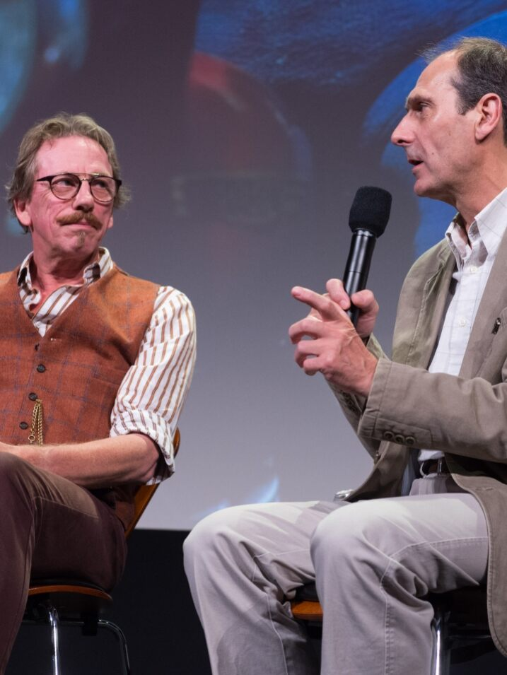 "Cinematographer Dave Alex Riddett (left) and Aardman Animations' co-founder David Sproxton during ""Wallace and Gromit Restored"" presented by the Academy of Motion Picture Arts and Sciences as part of the Marc Davis Celebration of Animation, on Friday, August 7, 2015."