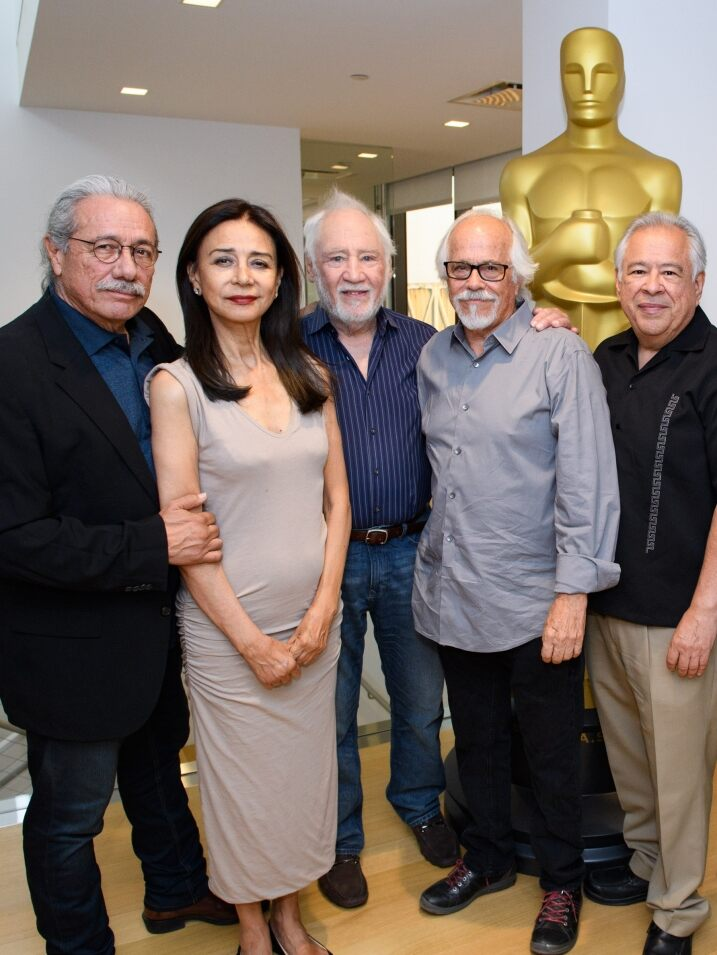 """The Ballad of Gregorio Cortez"" cast and crew. Pictured (left to right): Edward James Olmos, Rosanna DeSoto, Robert M. Young, Reynaldo Villalobos, Moctesuma Esparza, Bruce McGill and Tom Bower"