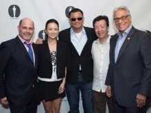 Pictured (left to right): host Matt Weiner, actress Ziyi Zhang, writer-director Wong Kar Wai, writer Zou Jingzhi and Academy President Hawk Koch.