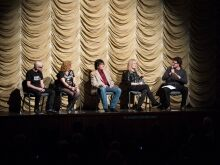 (left to right): musician Greg Hetson, musician Kristen Patches, musician Lee Ving, director Penelope Spheeris and host Mark Toscano.
