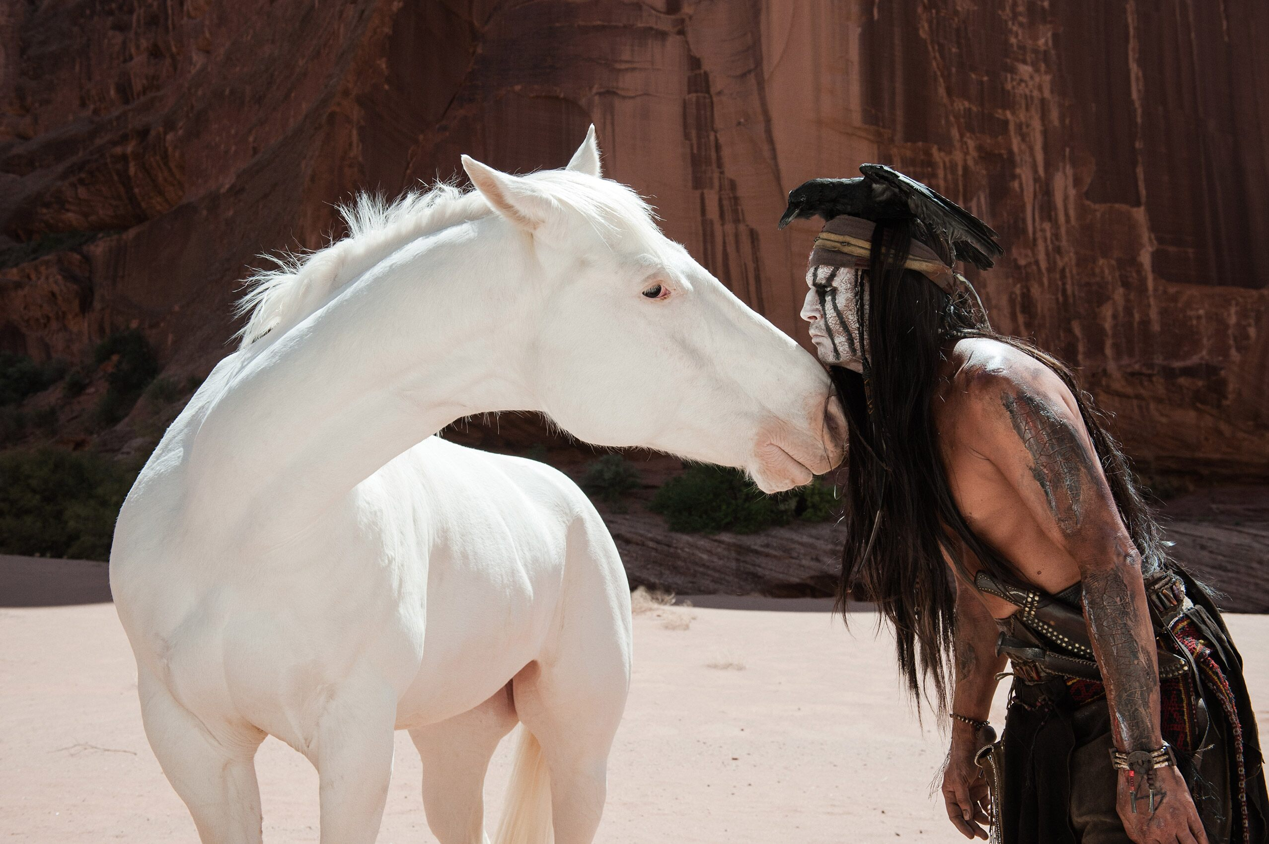 Silver and Johnny Depp as Tonto